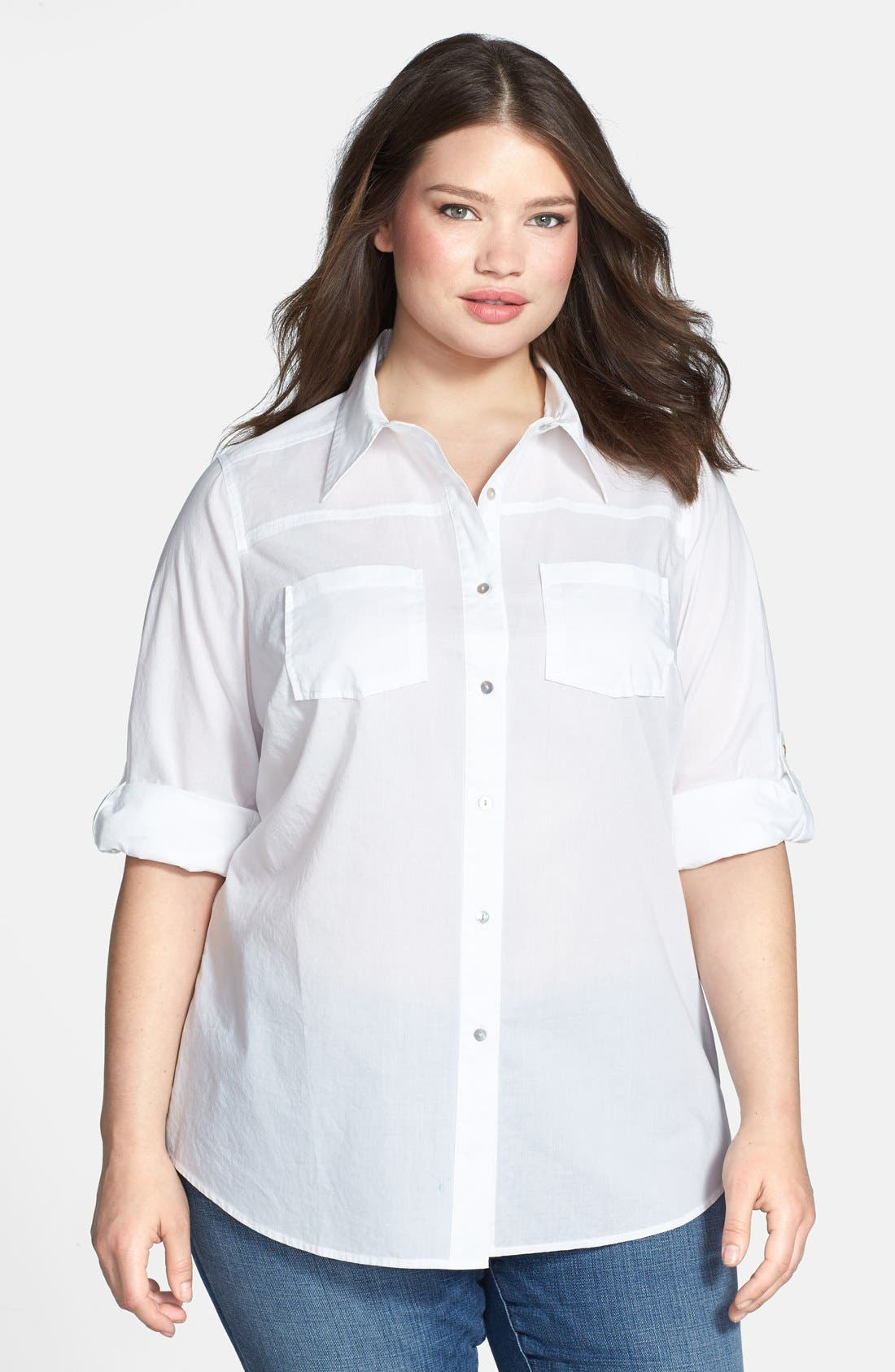 Alternate Image 1 Selected - Foxcroft Shaped Garment Dyed Cotton Lawn Shirt (Plus Size)