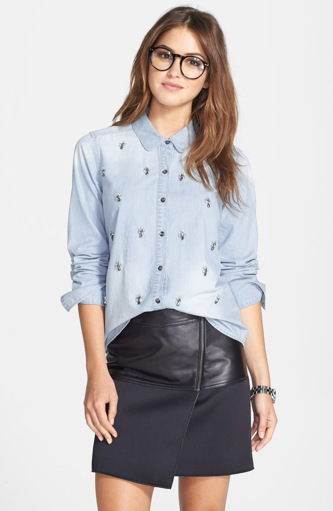 Alternate Image 1 Selected - Halogen® Embellished Denim Shirt (Regular & Petite)