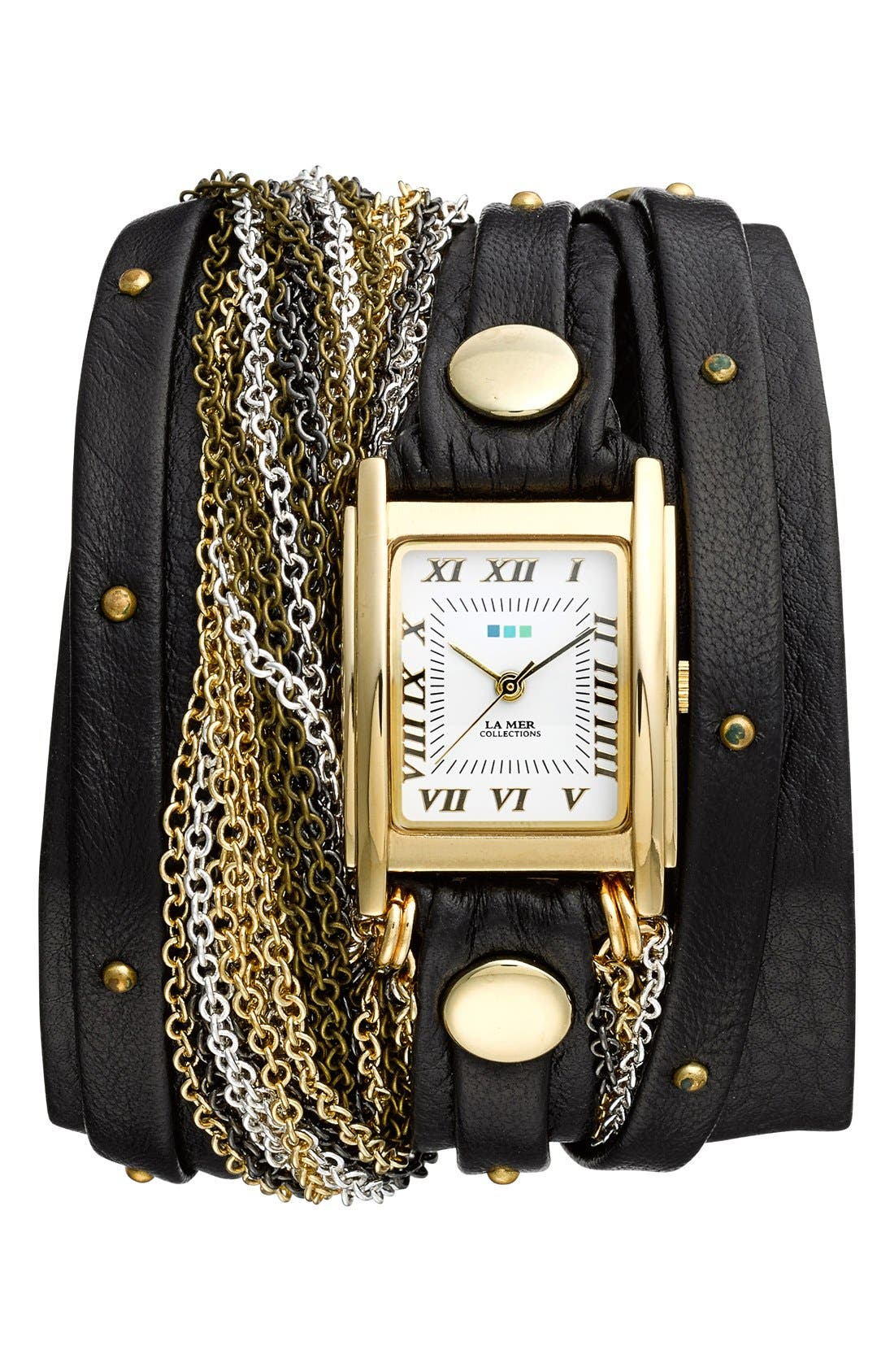 Alternate Image 1 Selected - La Mer Collections 'Venice' Leather & Chain Wrap Bracelet Watch, 30mm x 23mm