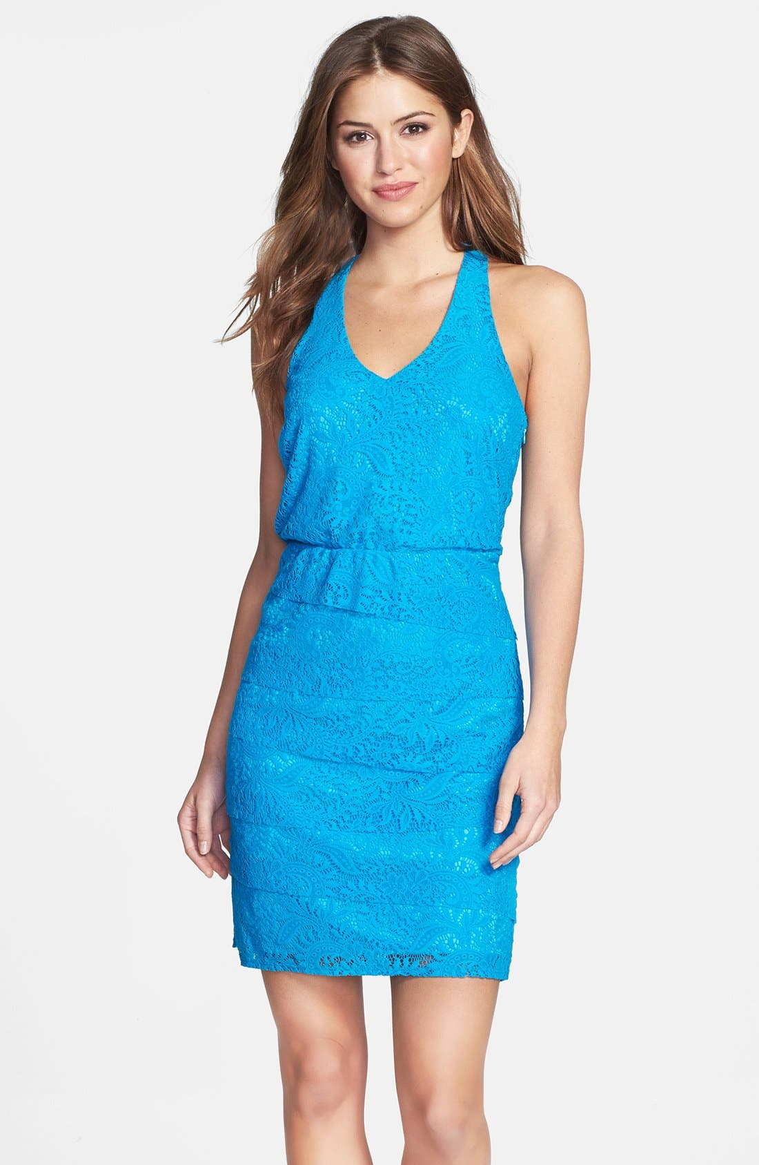 Main Image - Laundry by Shelli Segal Tiered Lace Blouson Dress