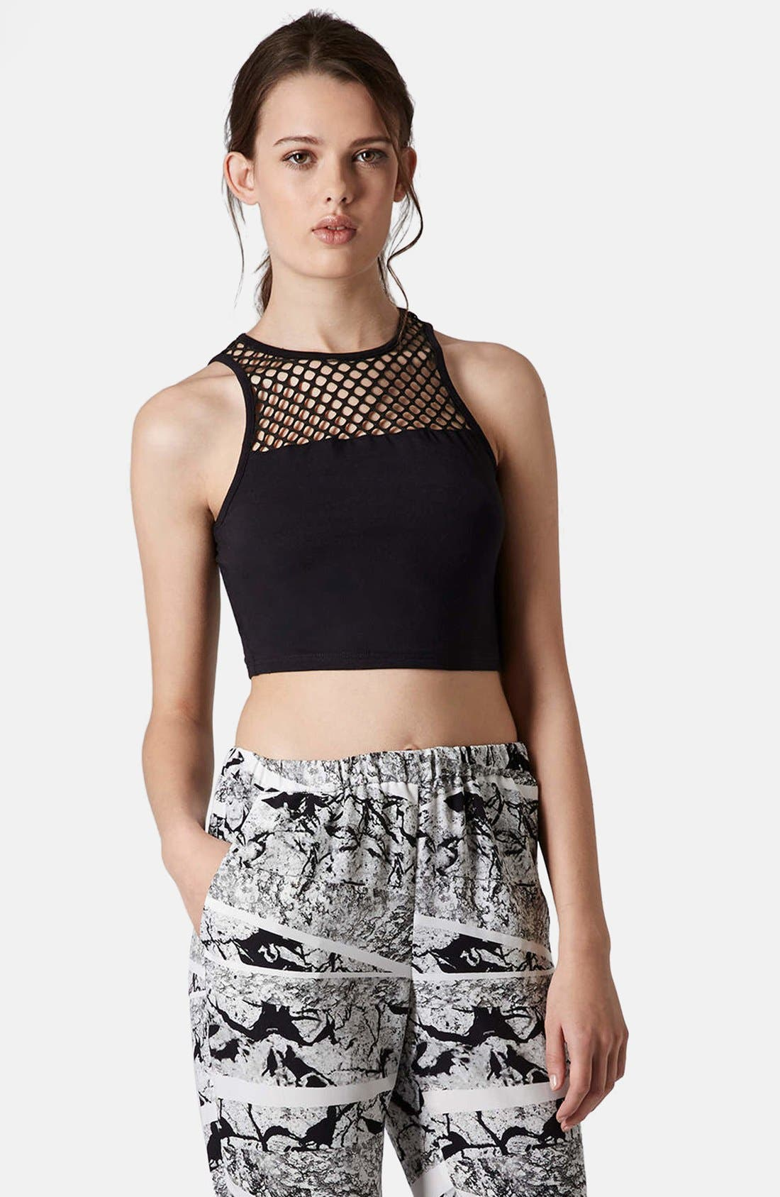 Alternate Image 1 Selected - Topshop Mesh Yoke Crop Tank