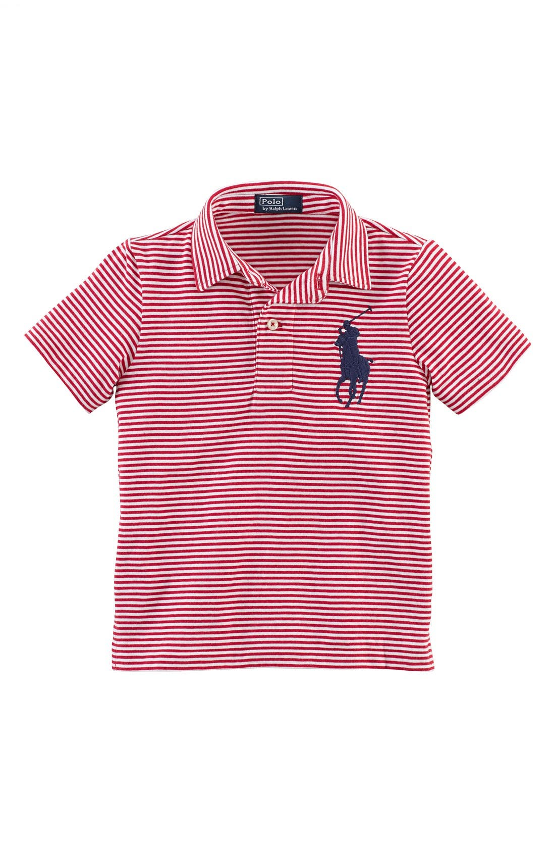 Alternate Image 1 Selected - Ralph Lauren Stripe Polo (Toddler Boys)