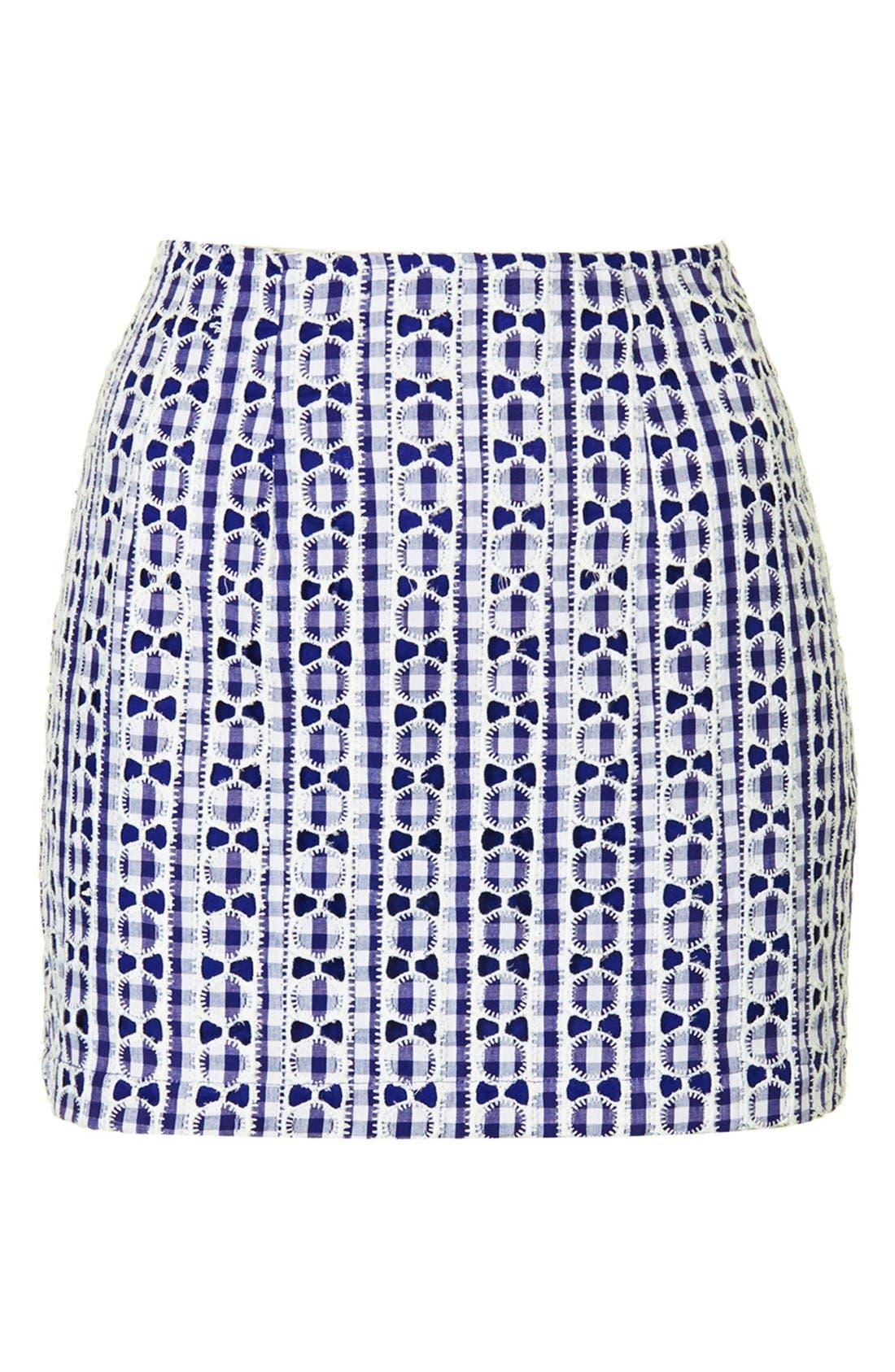 Alternate Image 3  - Topshop Lace Gingham Pelmet Skirt (Petite)