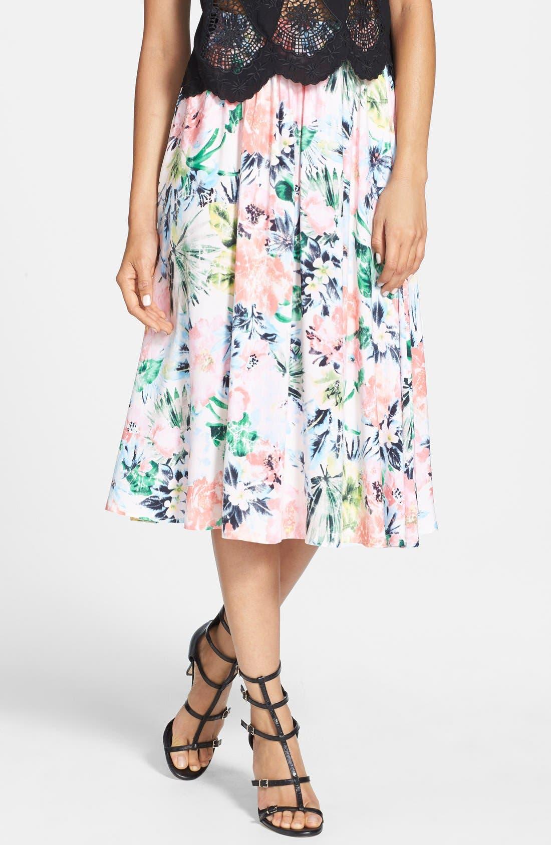 Alternate Image 1 Selected - Tildon Floral Midi Skirt