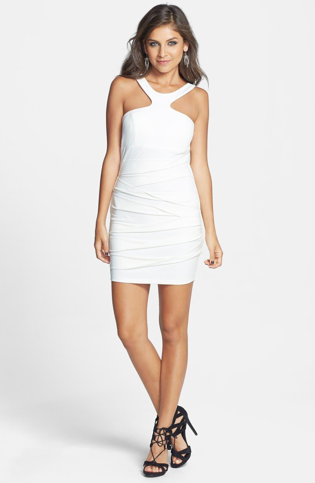 Alternate Image 3  - Way-In Halter Body-Con Dress (Juniors)