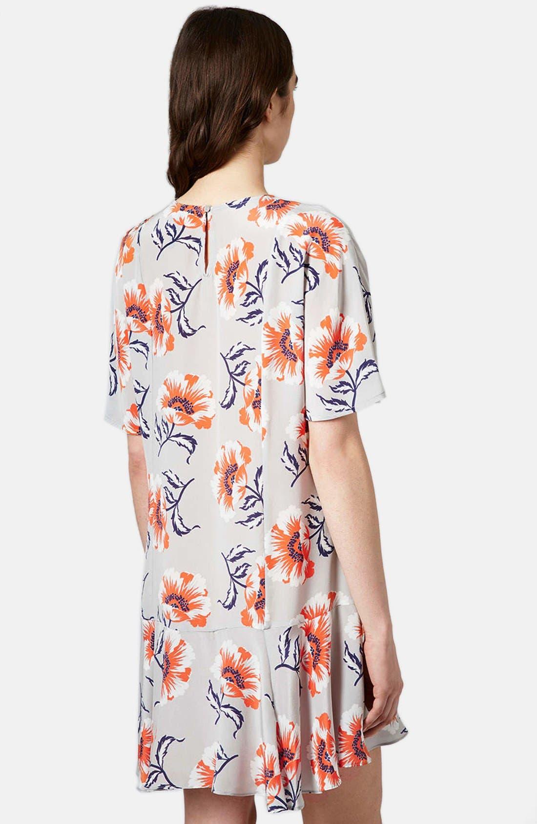 Alternate Image 2  - Topshop Boutique Floral Print Silk Shift Dress