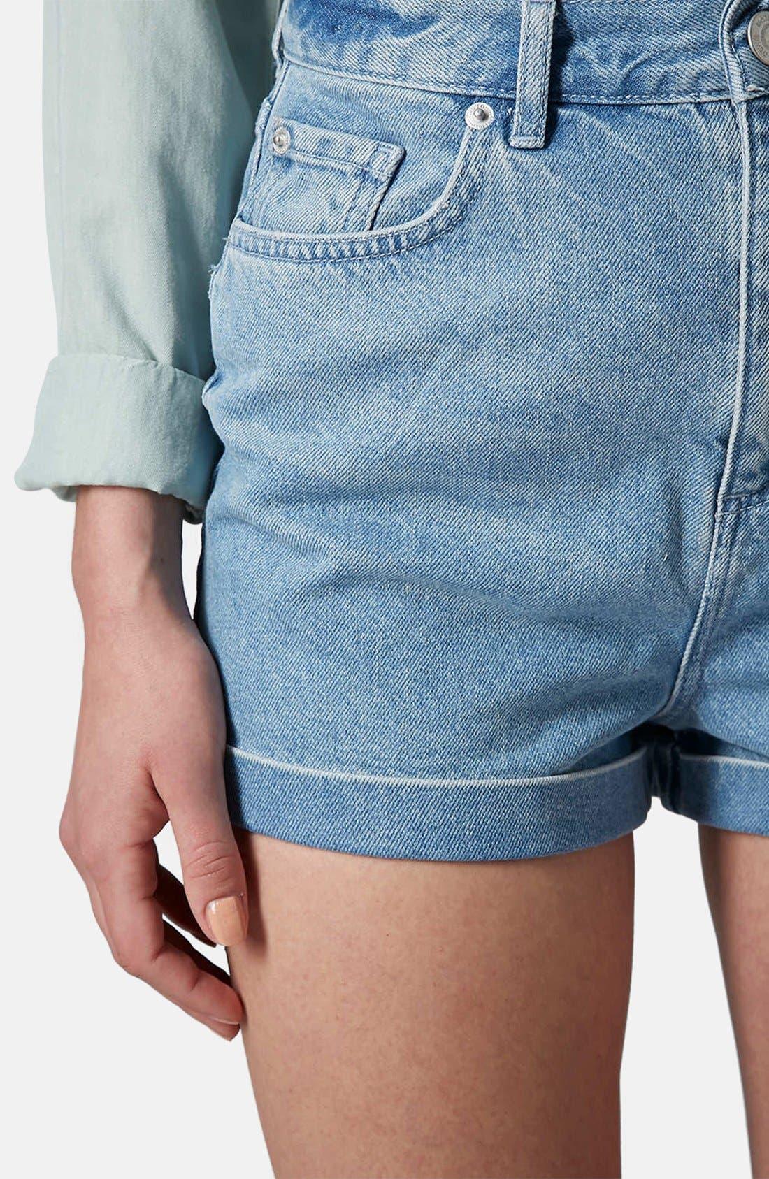 Alternate Image 4  - Topshop Moto 'Mom' High Rise Shorts (Light Denim)