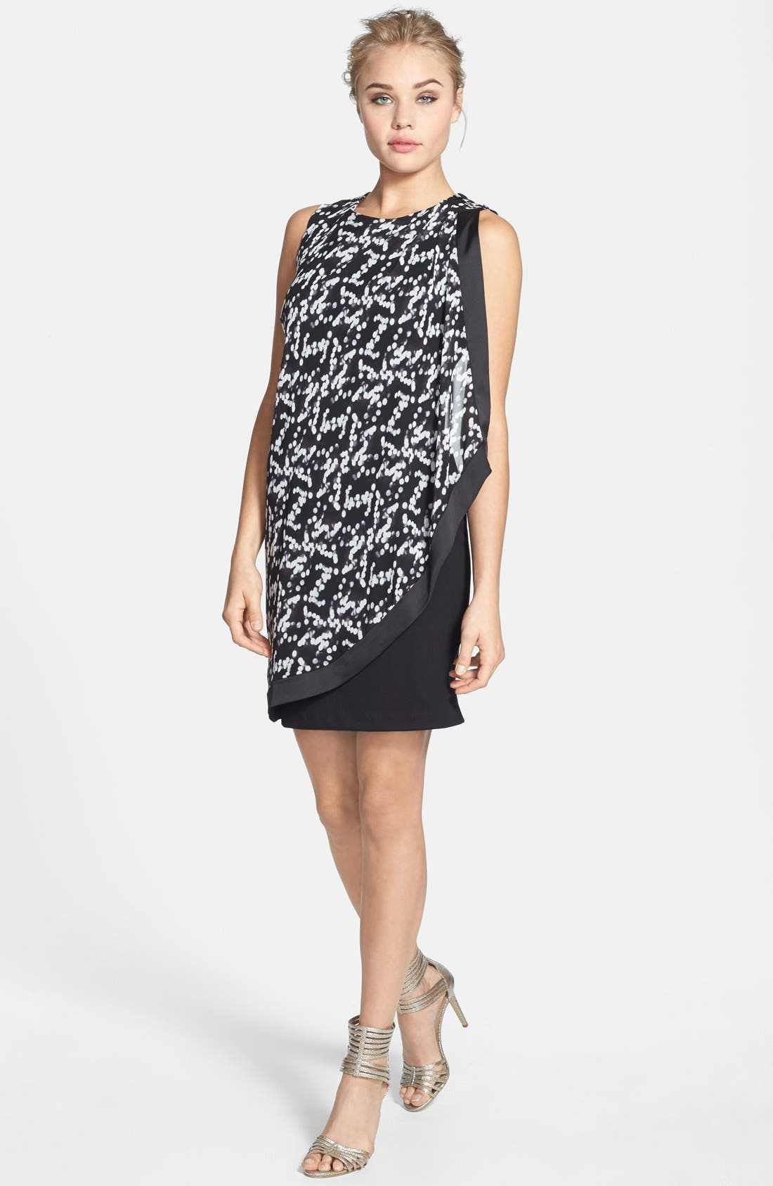 Alternate Image 2  - Hailey by Adrianna Papell Print Chiffon & Ponte Dress