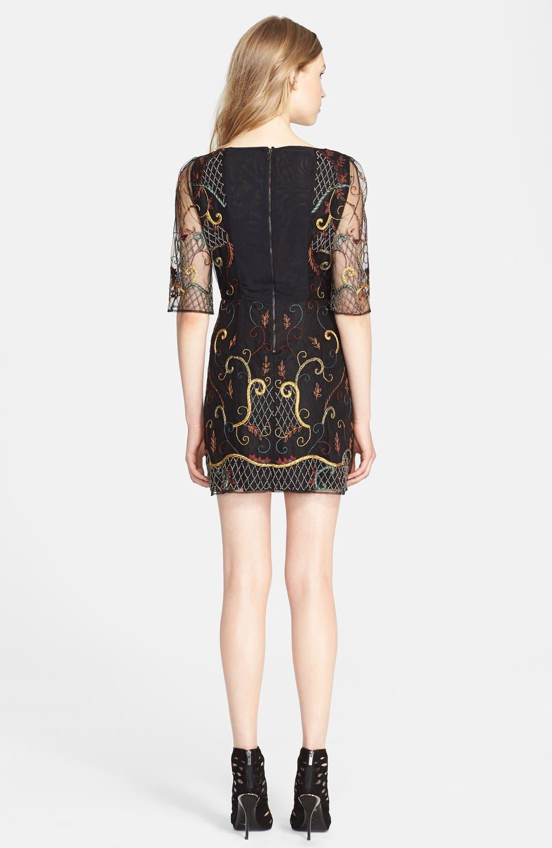 Alternate Image 2  - Alice + Olivia 'Drina' Embellished Chiffon Shift Dress