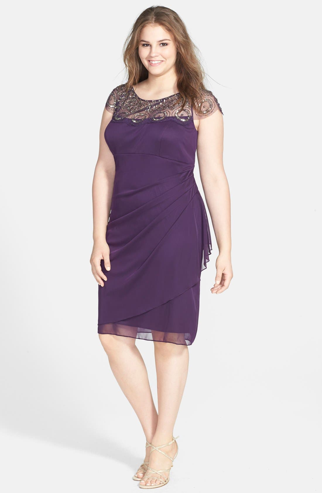 Alternate Image 1 Selected - Xscape Beaded Ruched Dress (Plus Size)