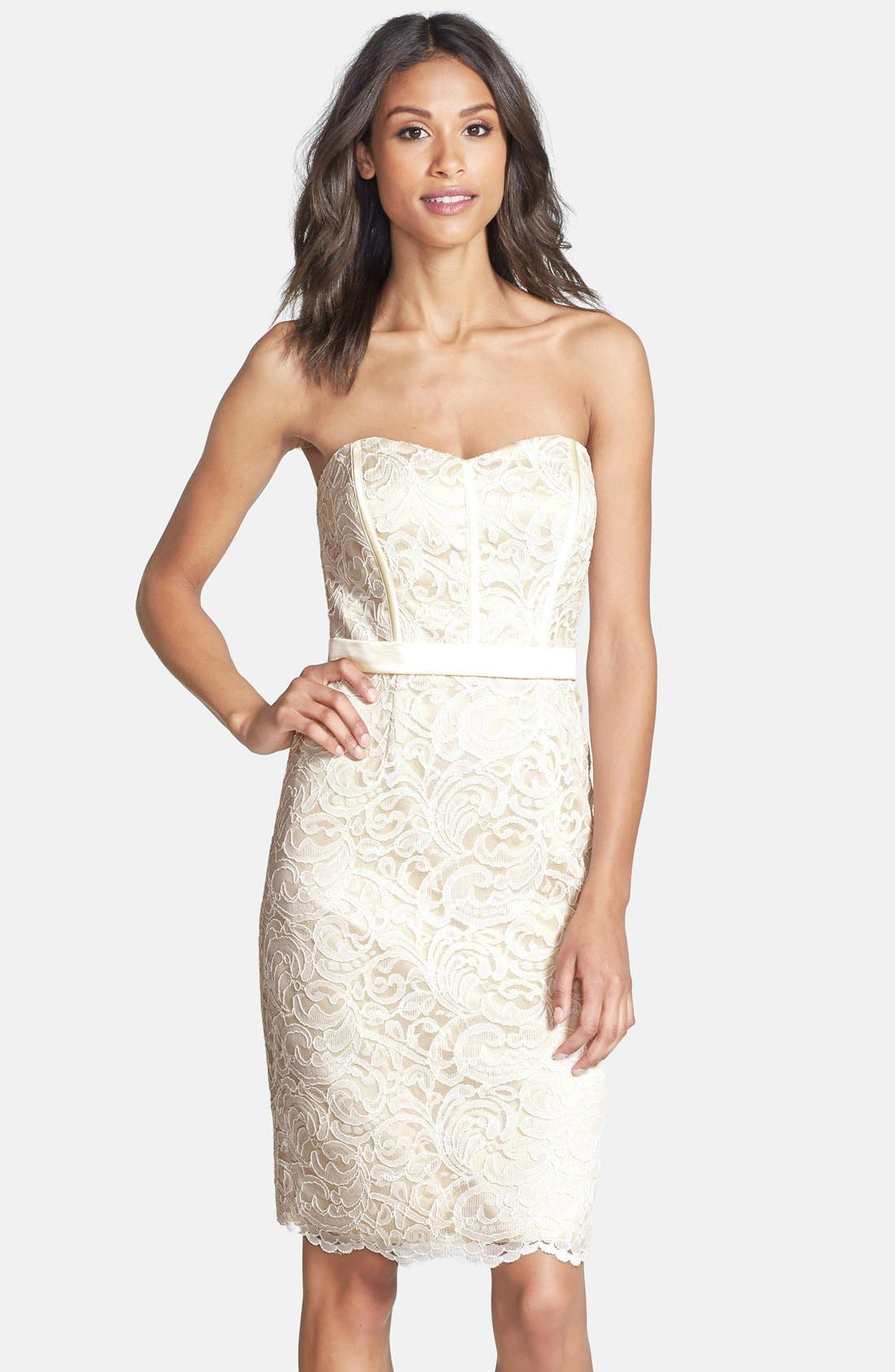Dessy Collection Strapless Lace Overlay Matte Satin Dress