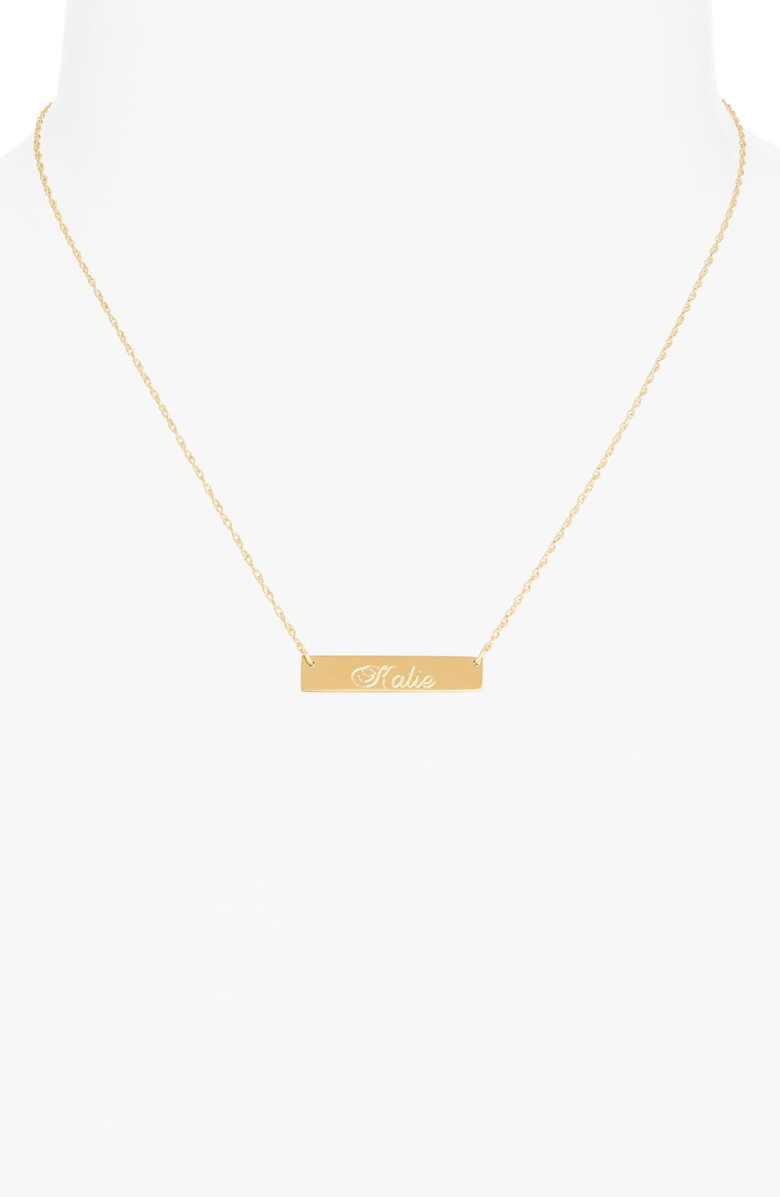 Alternate Image 2  - Moon and Lola 'Script Font' Personalized Bar Pendant Necklace (Online Only)