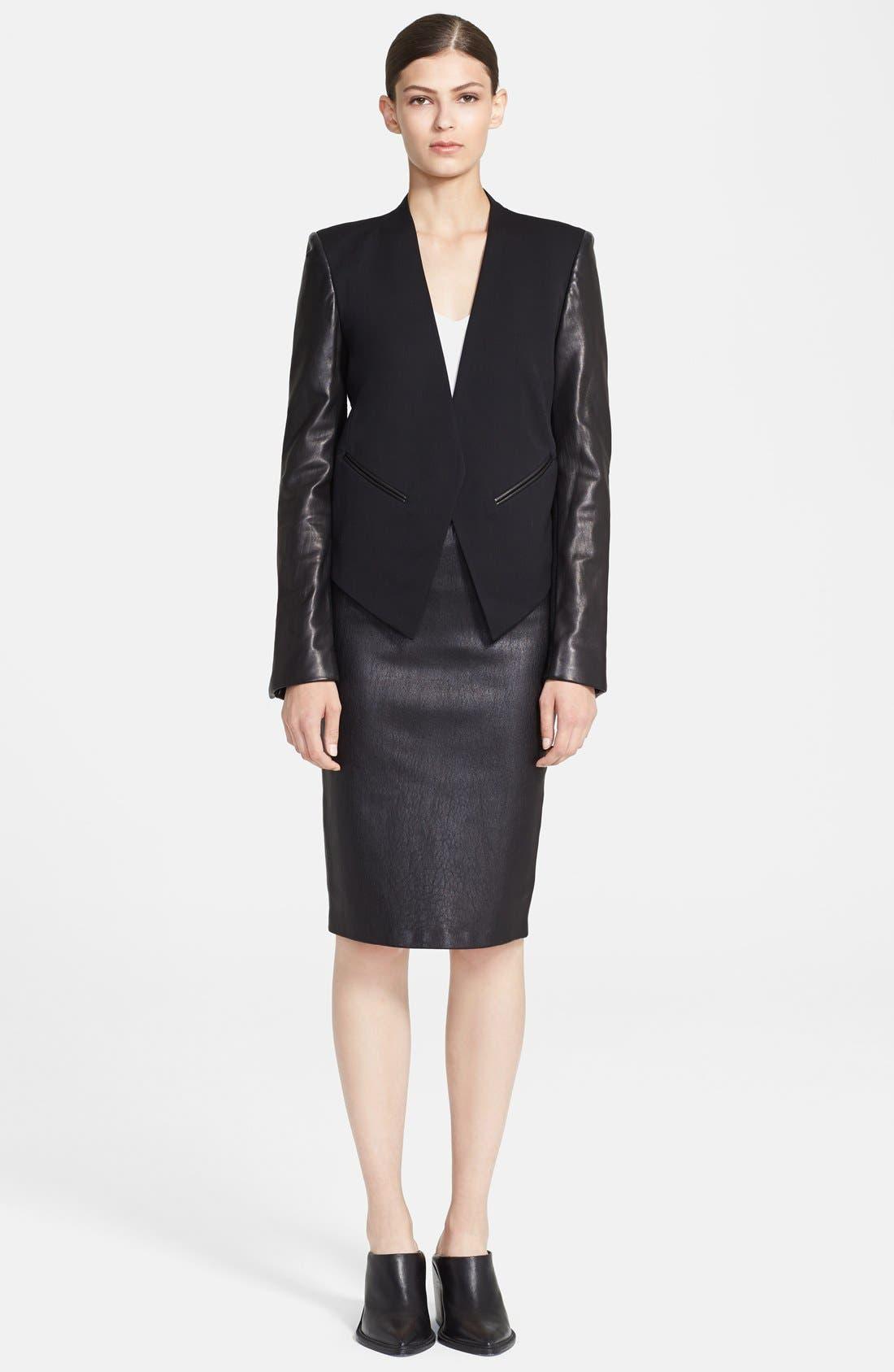 Alternate Image 1 Selected - Helmut Lang 'Smoking' Leather Sleeve Tuxedo Jacket