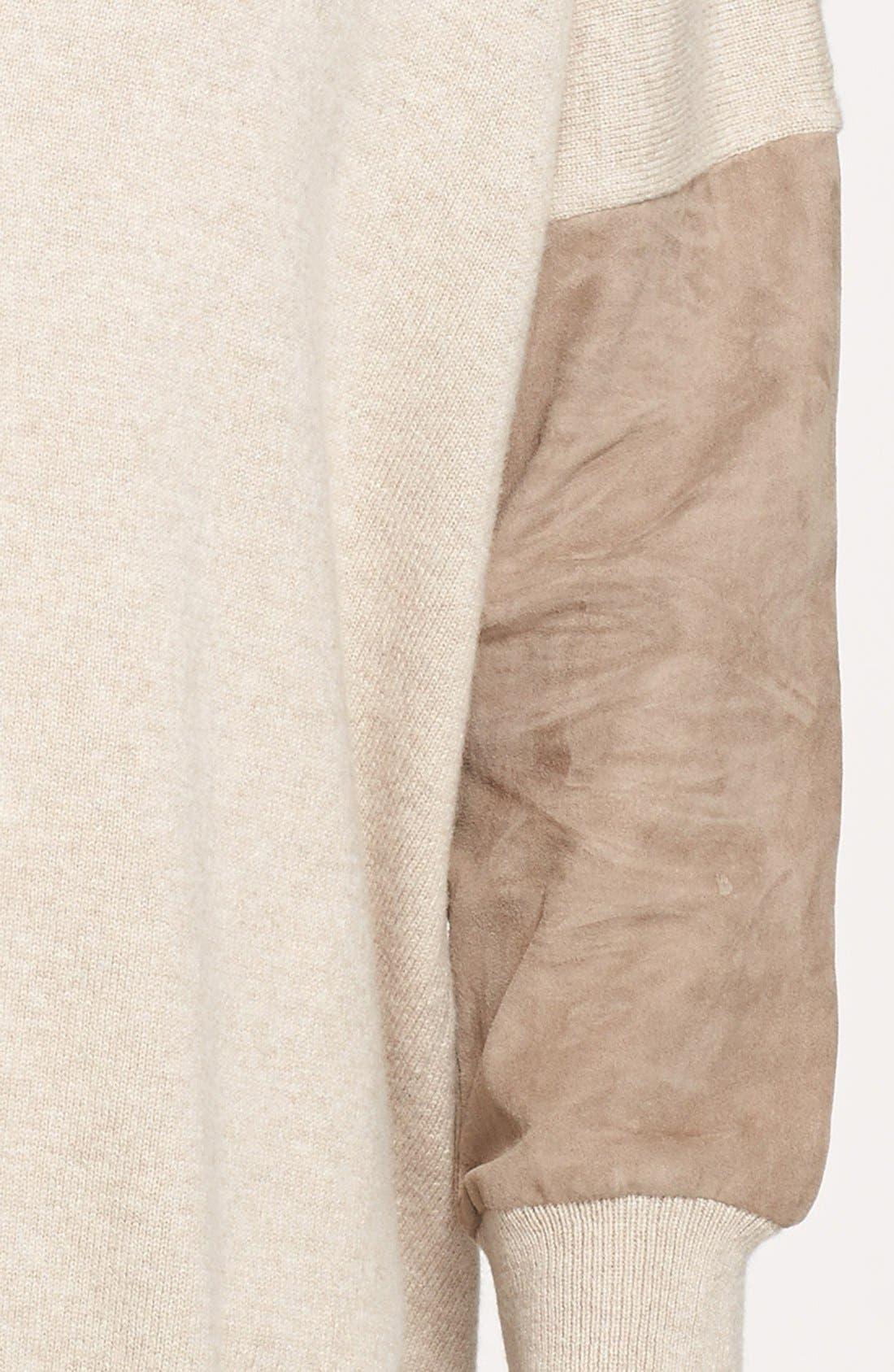Alternate Image 4  - Fabiana Filippi Suede Sleeve One-Button Cardigan