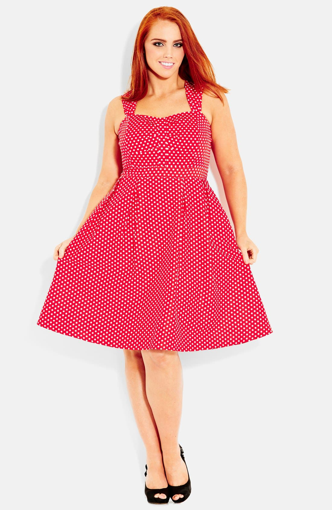 Alternate Image 1 Selected - City Chic 'Spotty Fun' Fit & Flare Dress (Plus Size)