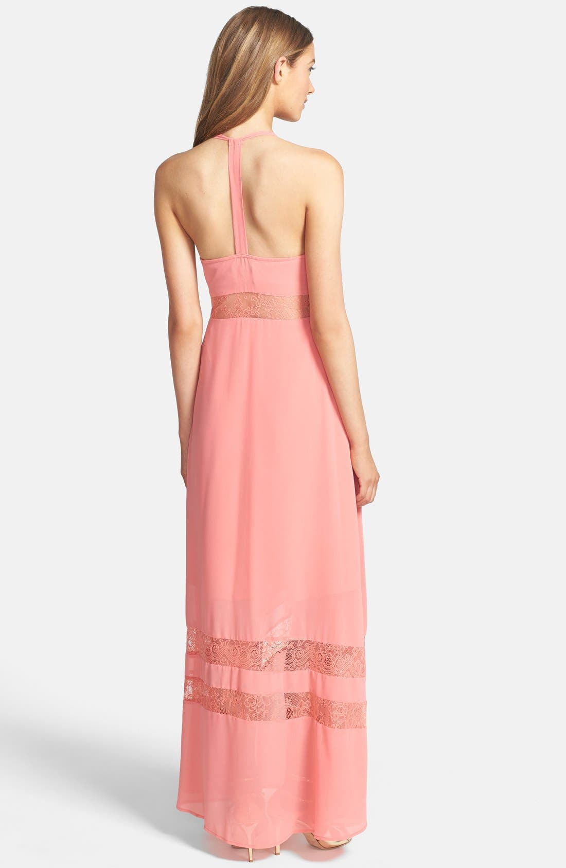 Alternate Image 2  - Jarlo 'Sienna' Lace Inset T-Back Chiffon Gown