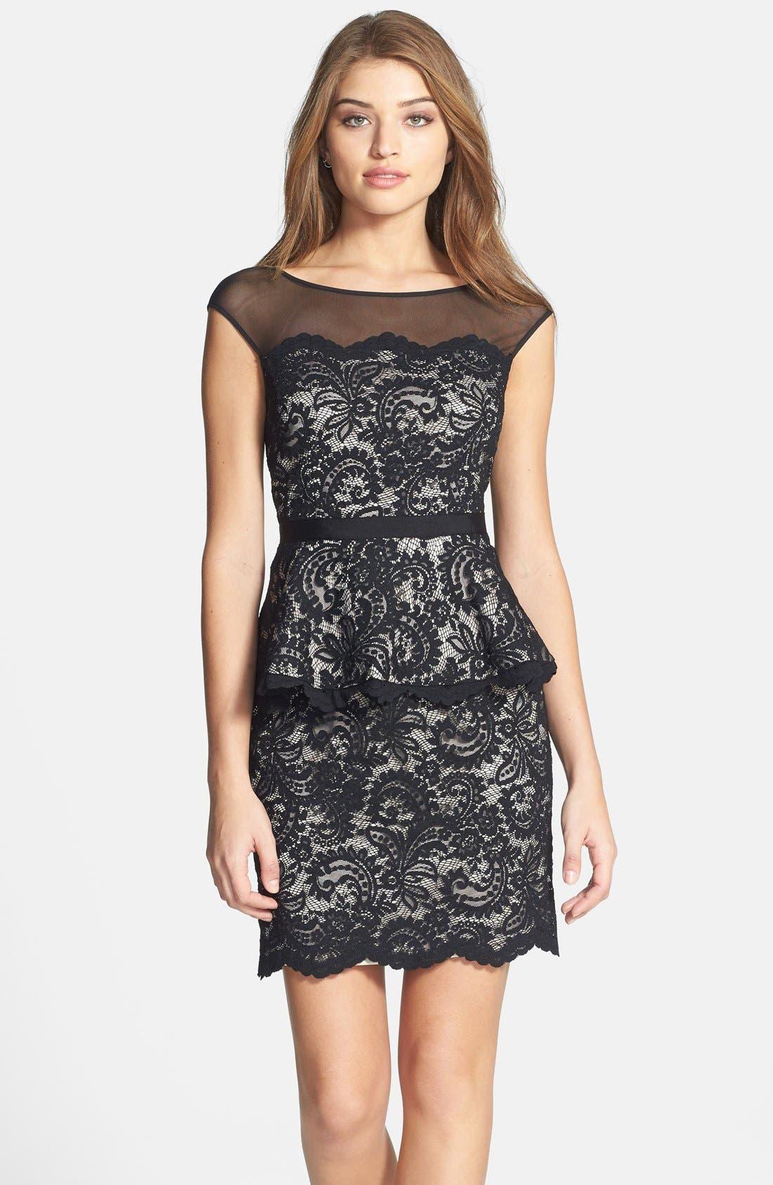 Main Image - Eliza J Illusion Neck Lace Peplum Dress