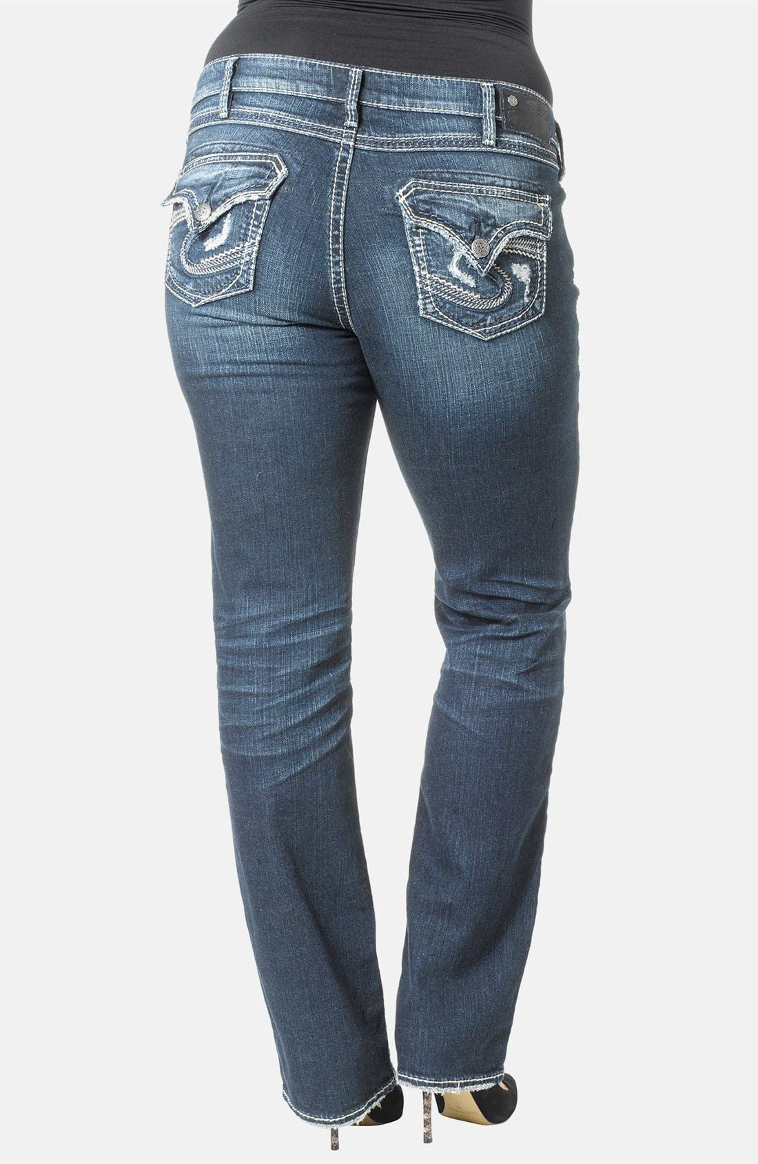 Alternate Image 2  - Silver Jeans Co. 'Aiko' Distressed Flap Pocket Straight Leg Jeans (Plus Size)