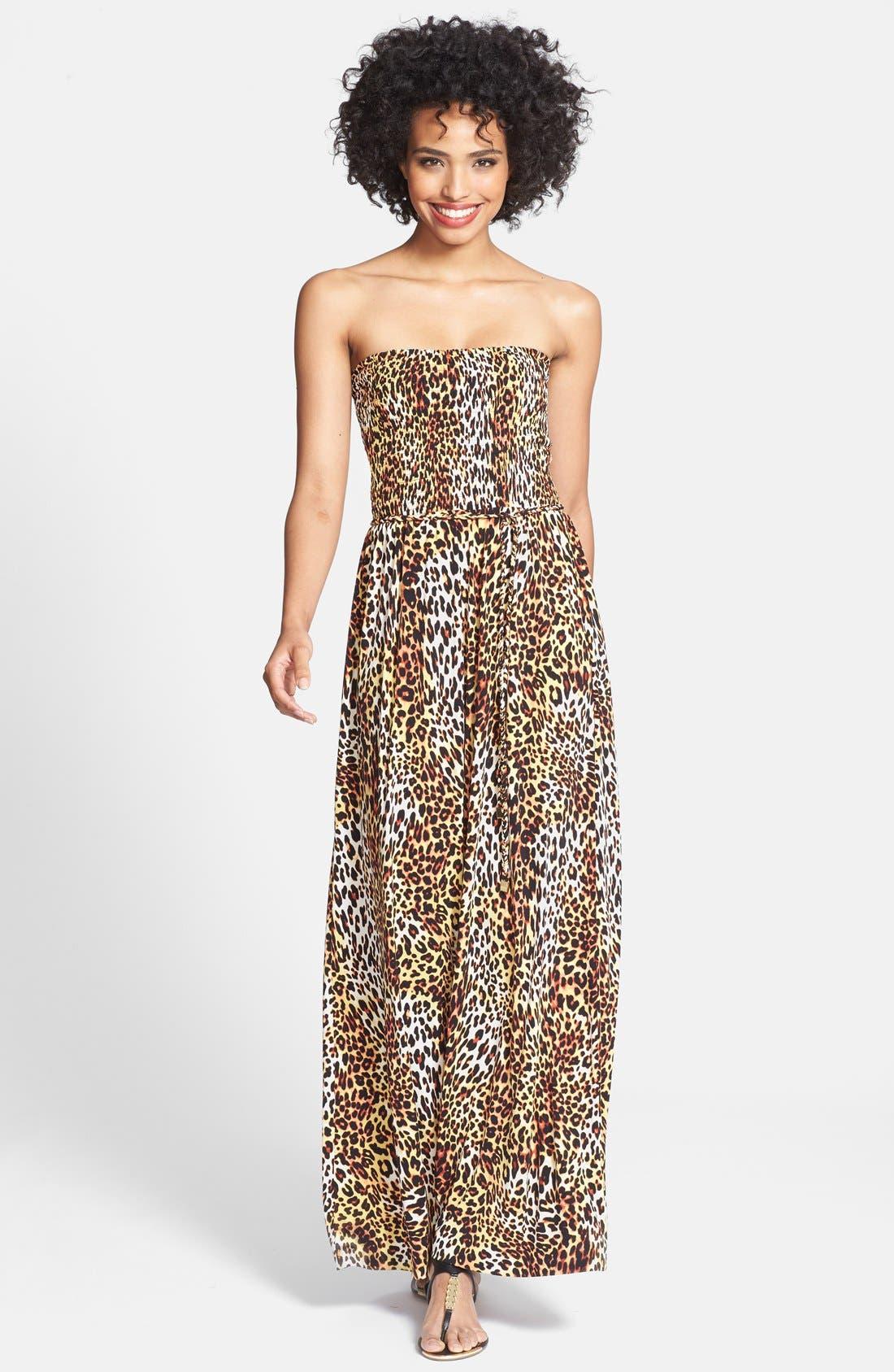 Main Image - Anne Klein Leopard Print Strapless Maxi Dress (Regular & Petite)