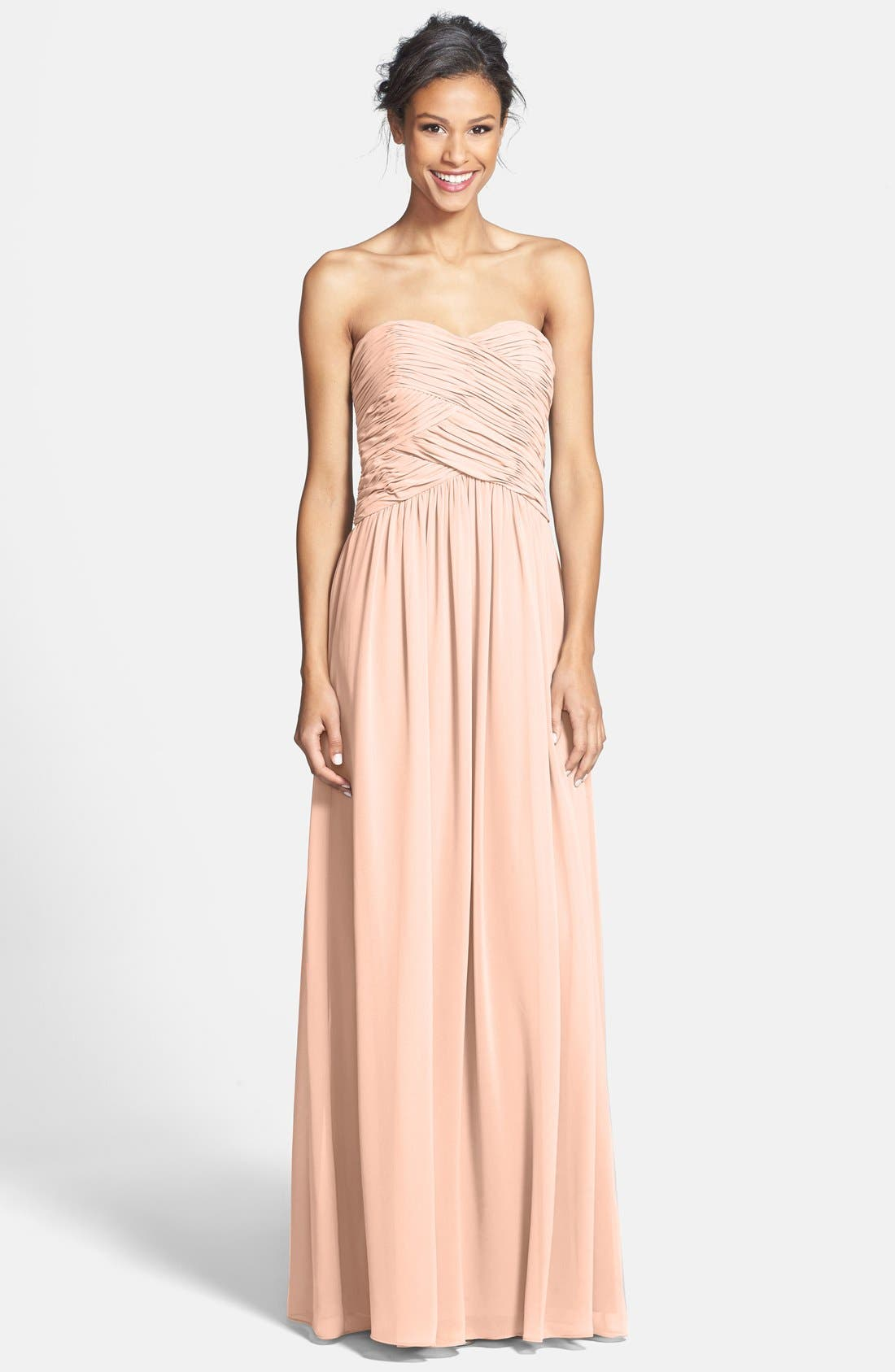 Main Image - Donna Morgan 'Audrey' Strapless Chiffon Gown