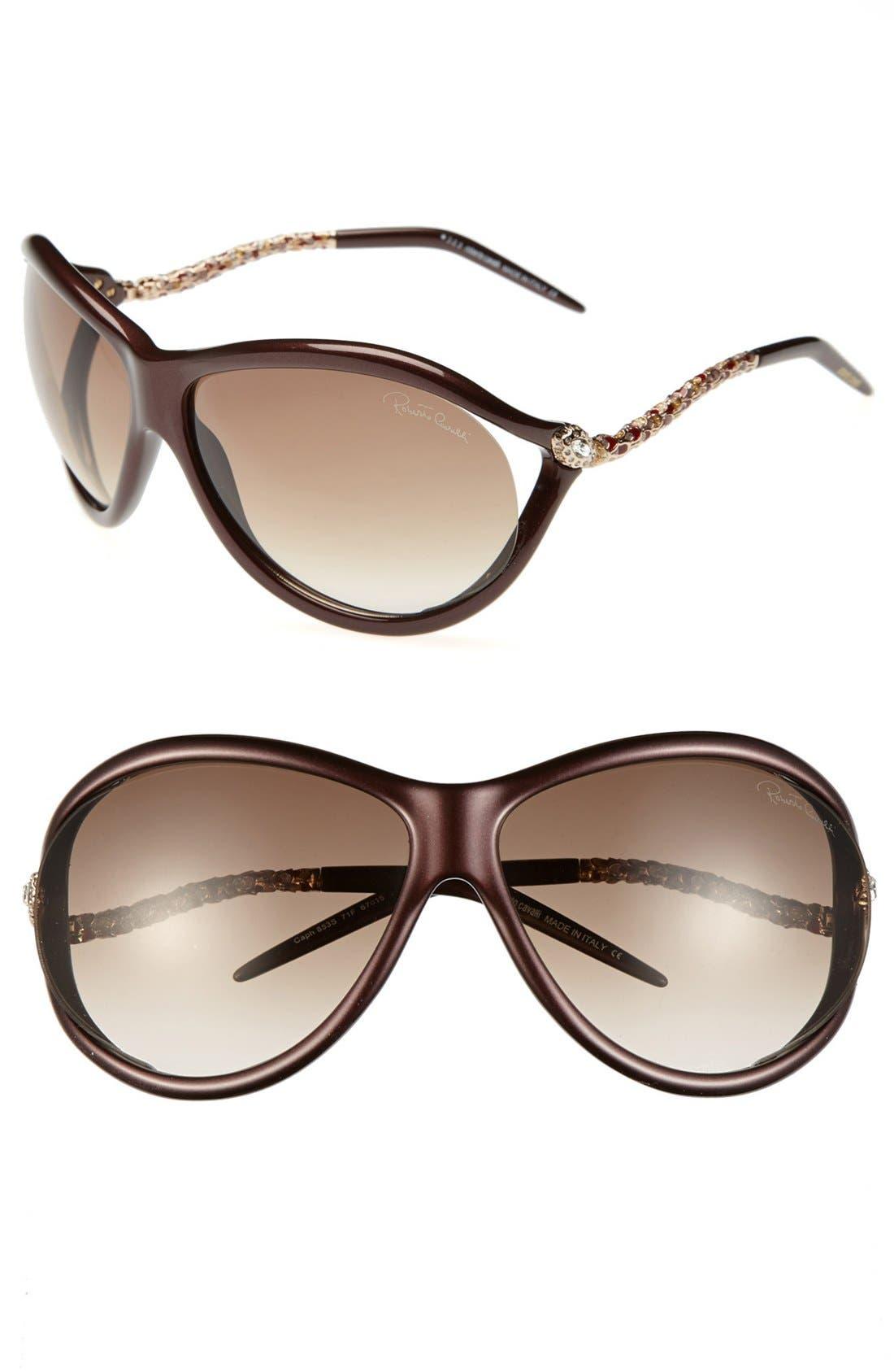 Alternate Image 1 Selected - Roberto Cavalli 'Caph' 67mm Enamel Detail Oversized Sunglasses