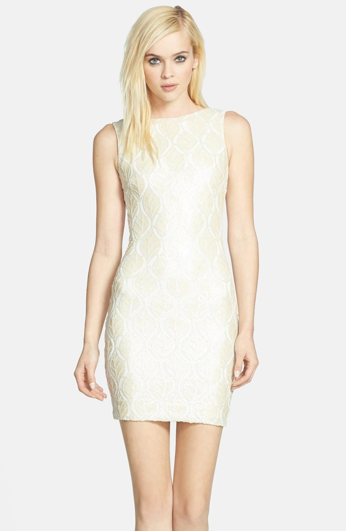 Main Image - Dress the Population 'Kim' Faux Leather Sequin Body-Con Dress