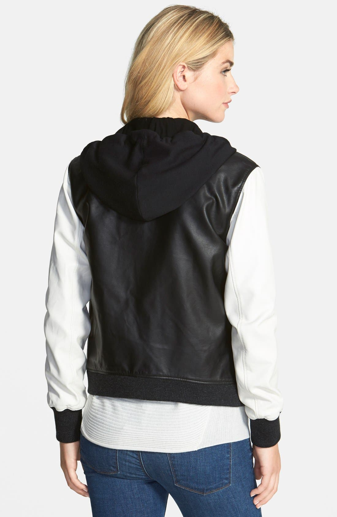 Alternate Image 2  - Two by Vince Camuto Lightweight Faux Leather Bomber Jacket