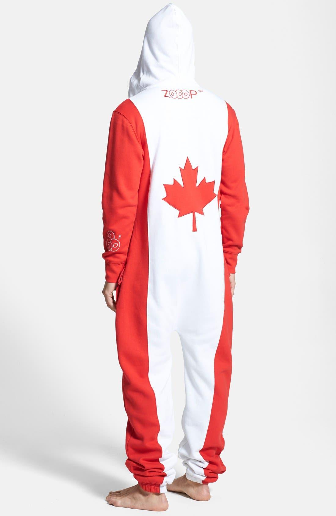 Alternate Image 1 Selected - ZOOOP iT UP™ Canada Flag Zip Hoodie Jumpsuit