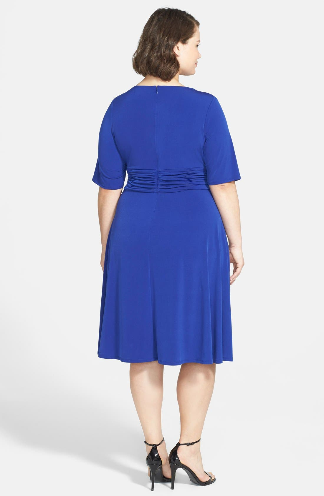 Alternate Image 2  - Jessica Howard Ruched Waist Fit & Flare Dress (Plus Size)