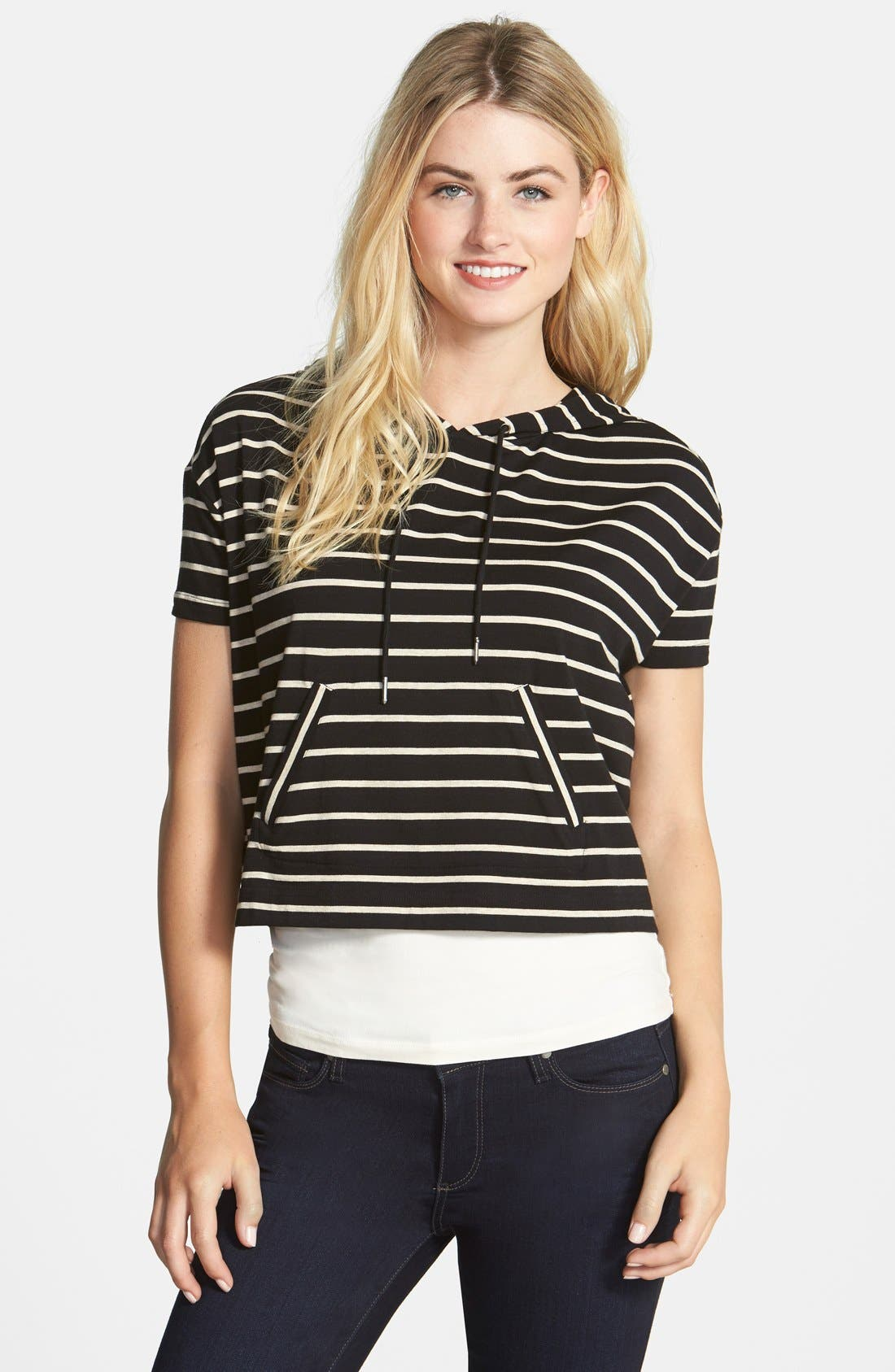 Alternate Image 1 Selected - Two by Vince Camuto Stripe Crop Boxy Hoodie