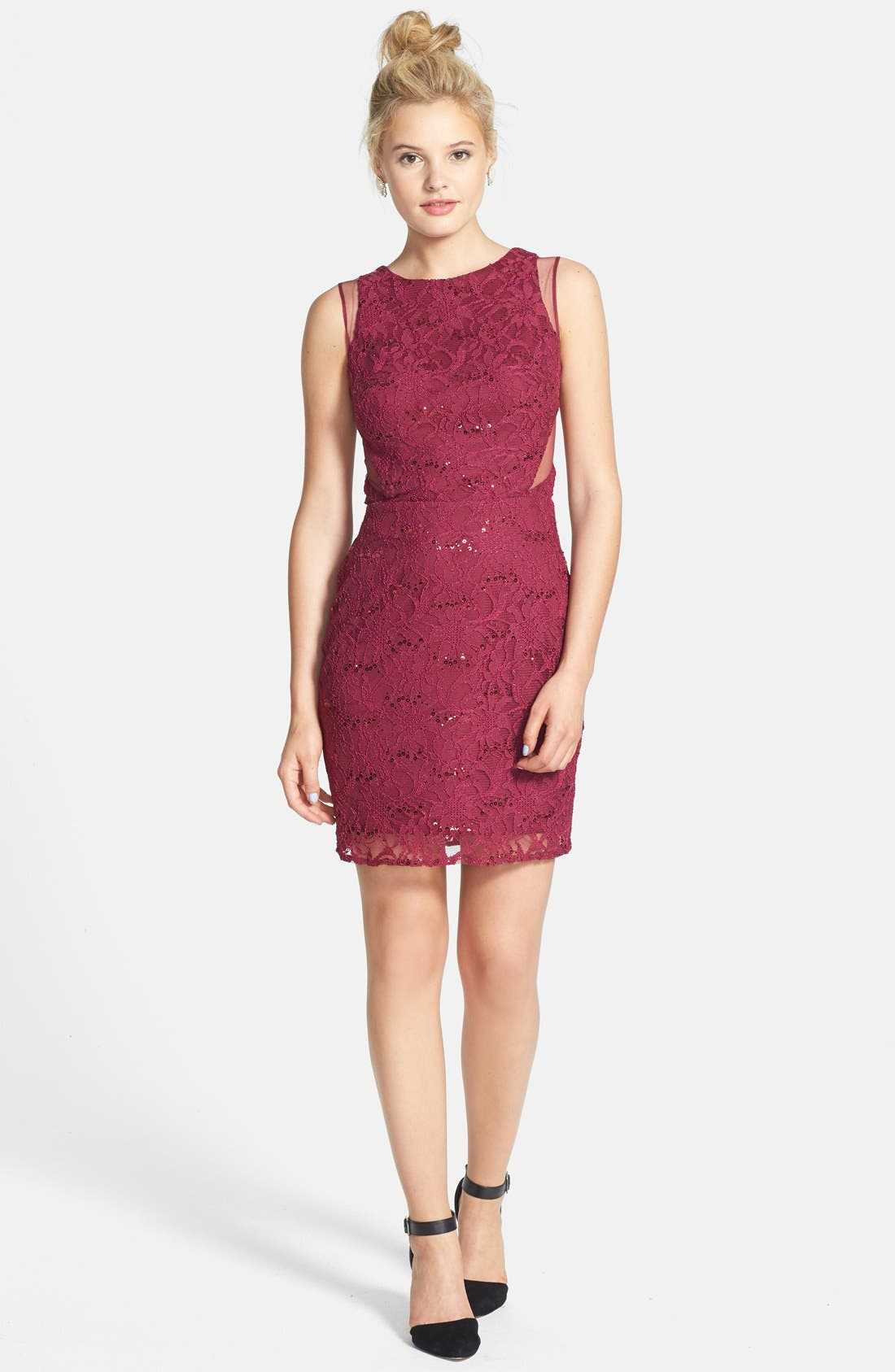 Alternate Image 3  - Hailey Logan Mesh Inset Sequin Lace Sheath Dress (Juniors) (Online Only)