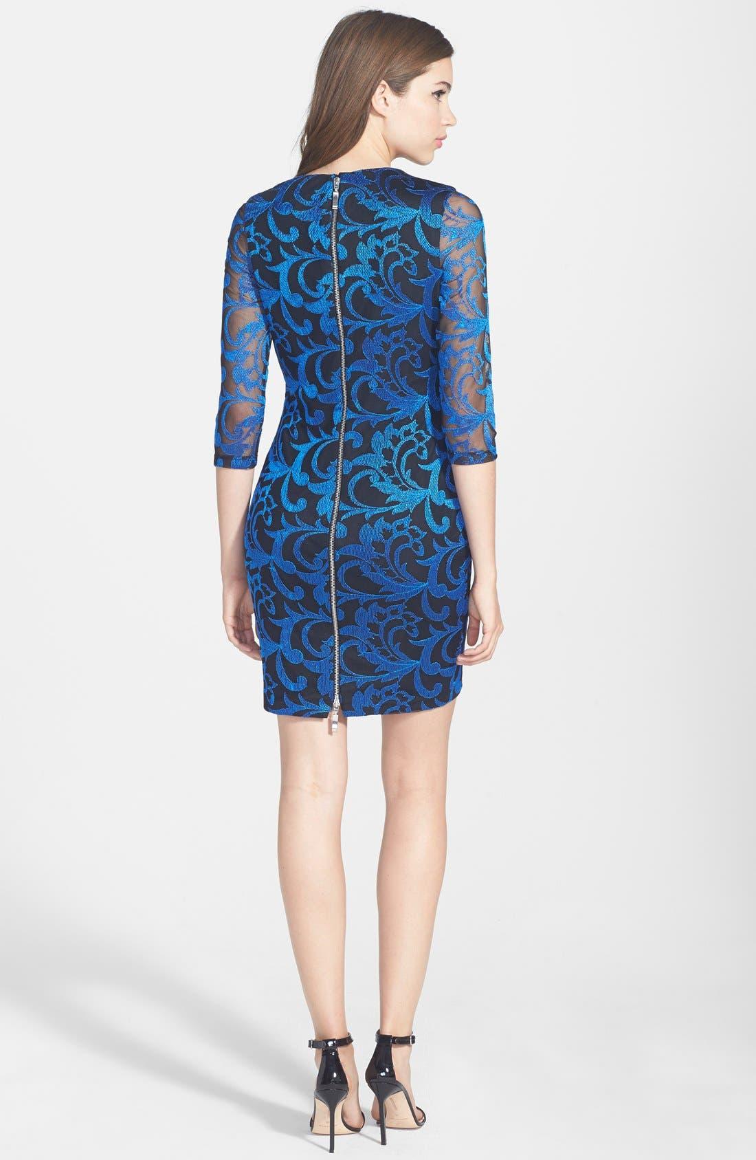 Alternate Image 2  - Alexia Admor Embroidered Mesh Body-Con Dress
