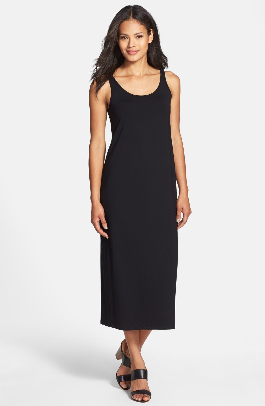 Alternate Image 1 Selected - Eileen Fisher Scoop Neck Jersey Dress (Regular & Petite)