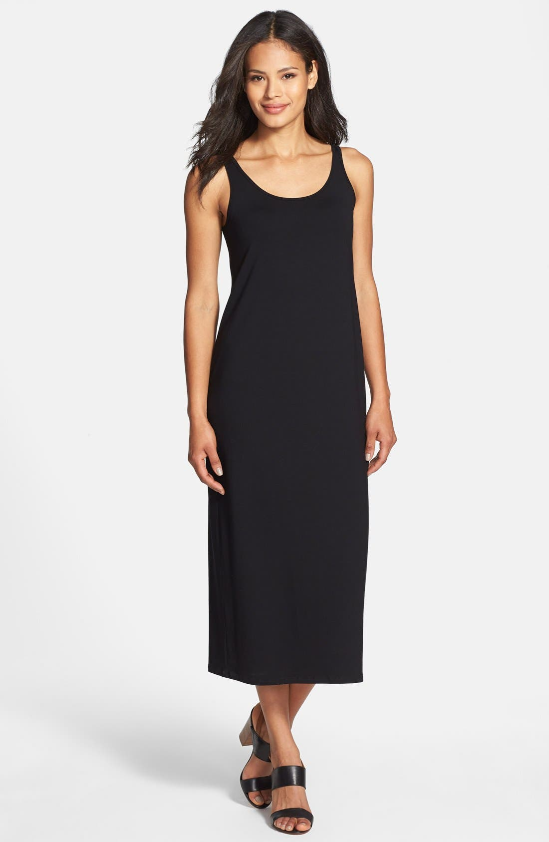 Main Image - Eileen Fisher Scoop Neck Jersey Dress (Regular & Petite)