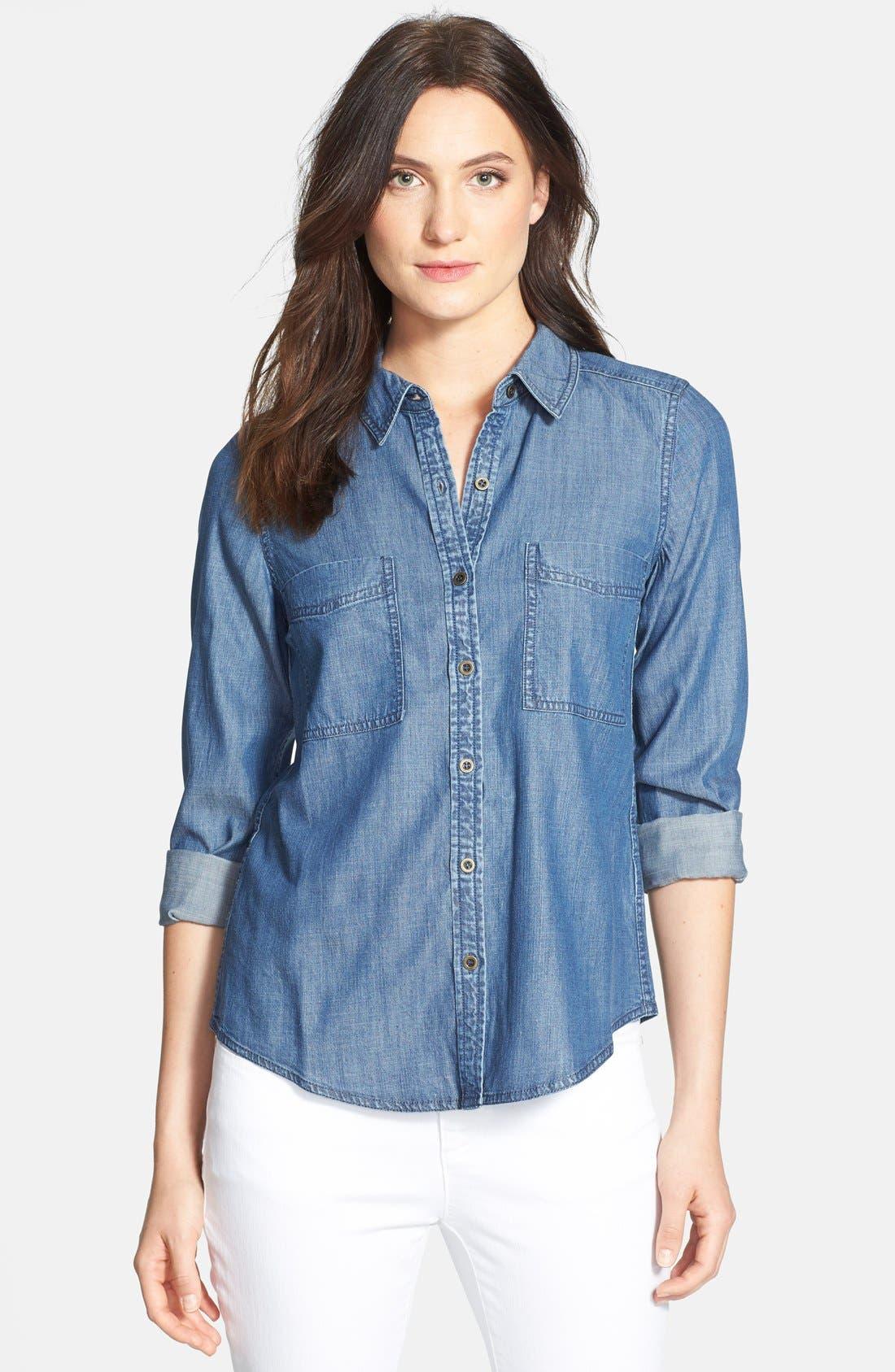 Main Image - Eileen Fisher Classic Collar Denim Chambray Shirt (Petite)