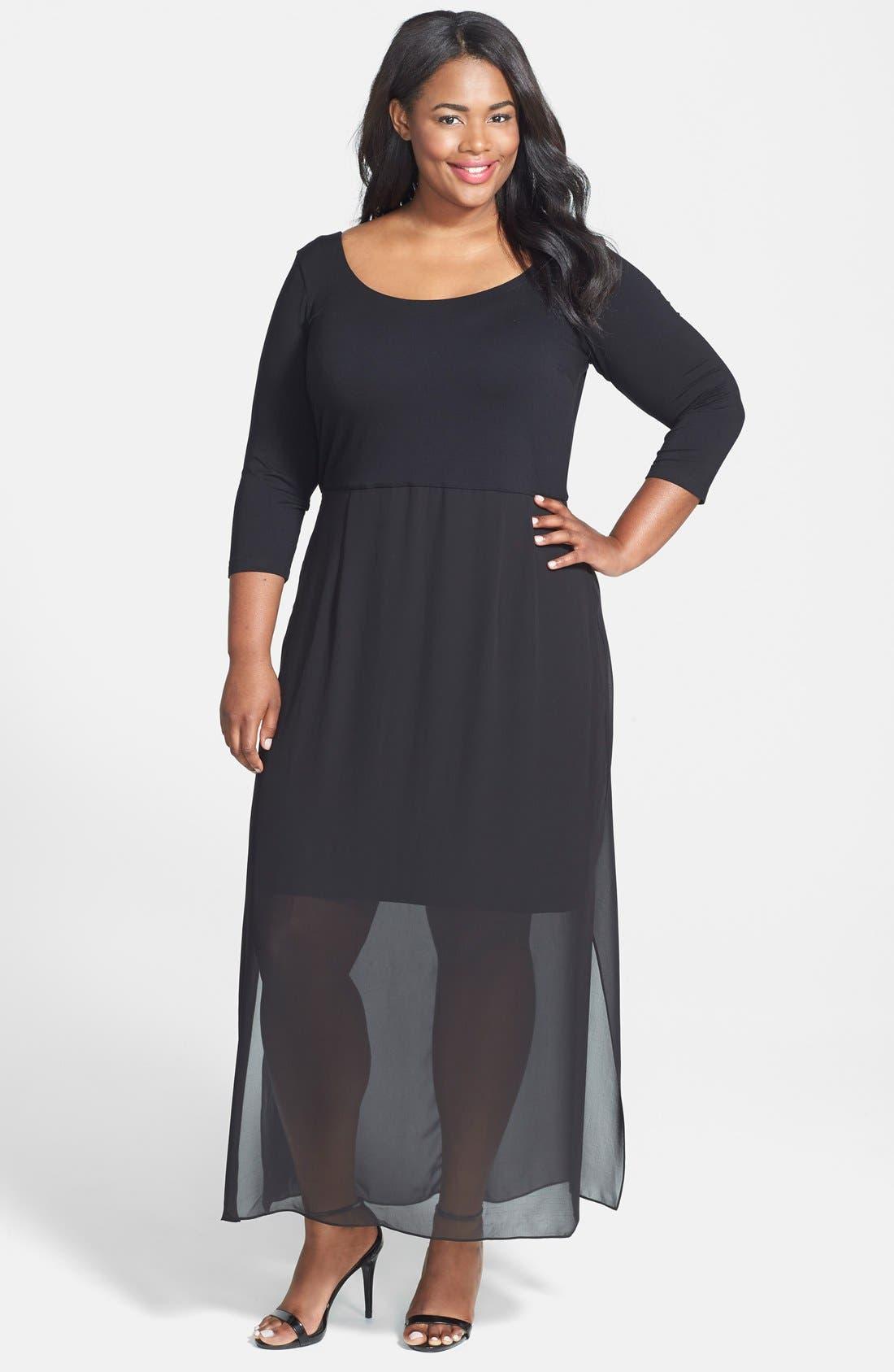 Alternate Image 1 Selected - Vince Camuto Chiffon Overlay Maxi Dress (Plus Size)