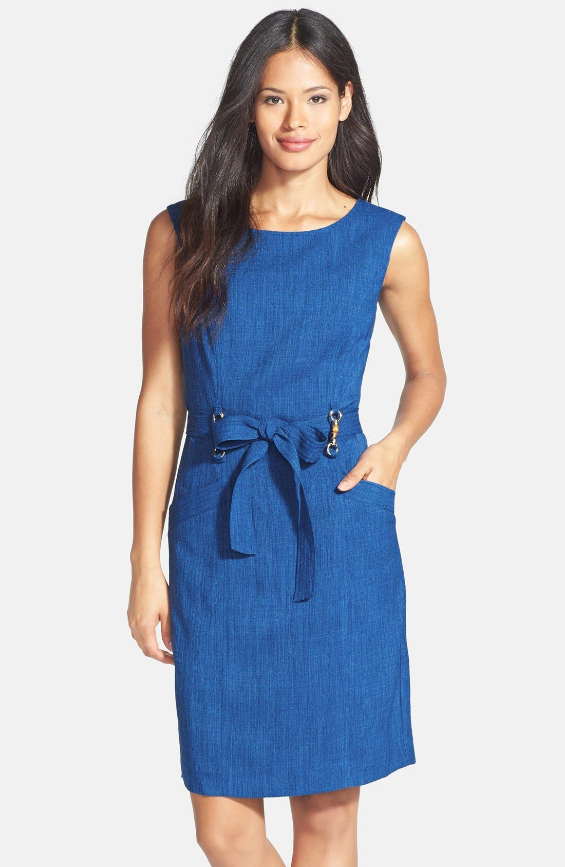 Main Image - Ellen Tracy Bamboo Detail Belted Sheath Dress (Petite)