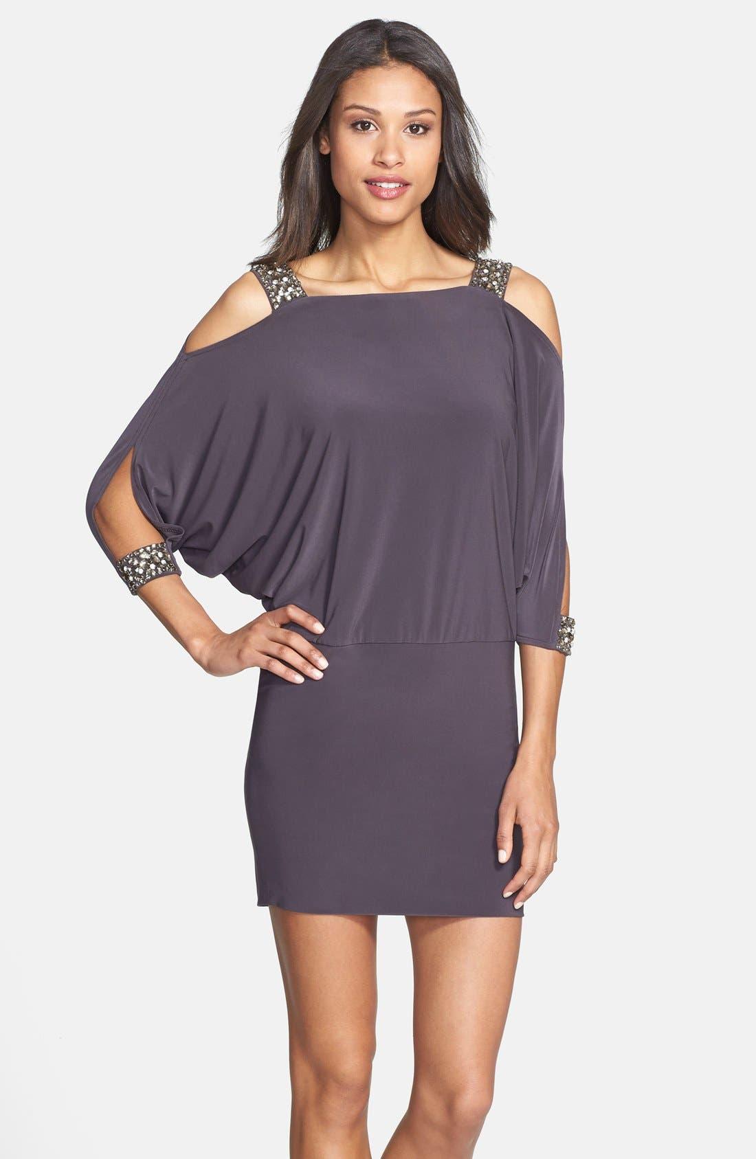 Alternate Image 1 Selected - Betsy & Adam Embellished Cold Shoulder Jersey Dress