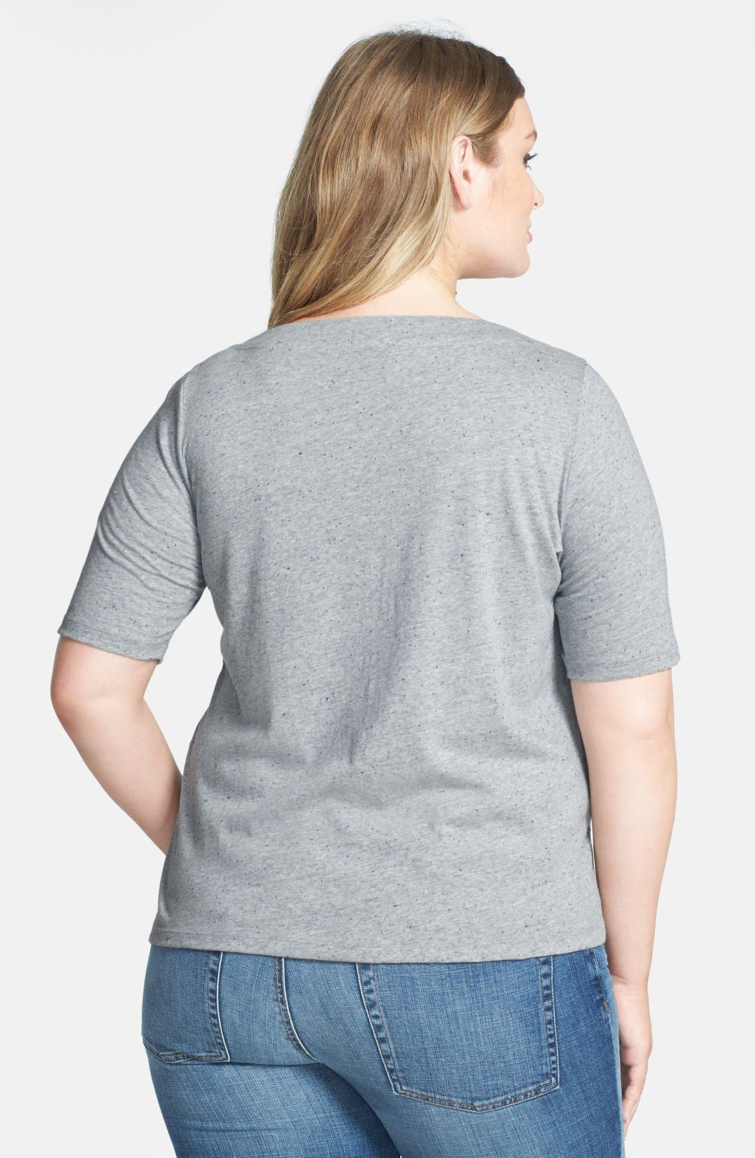Alternate Image 2  - Lucky Brand 'Faye' Embroidered Boatneck Tee (Plus Size)