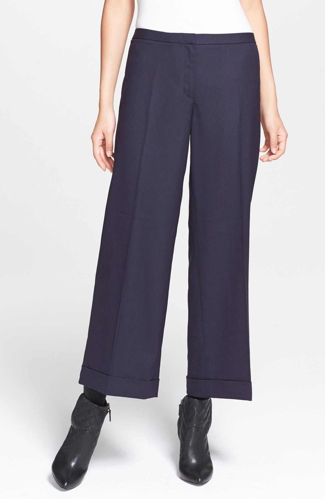Alternate Image 1 Selected - Tory Burch 'Fern' Stretch Wool Wide Leg Crop Pants