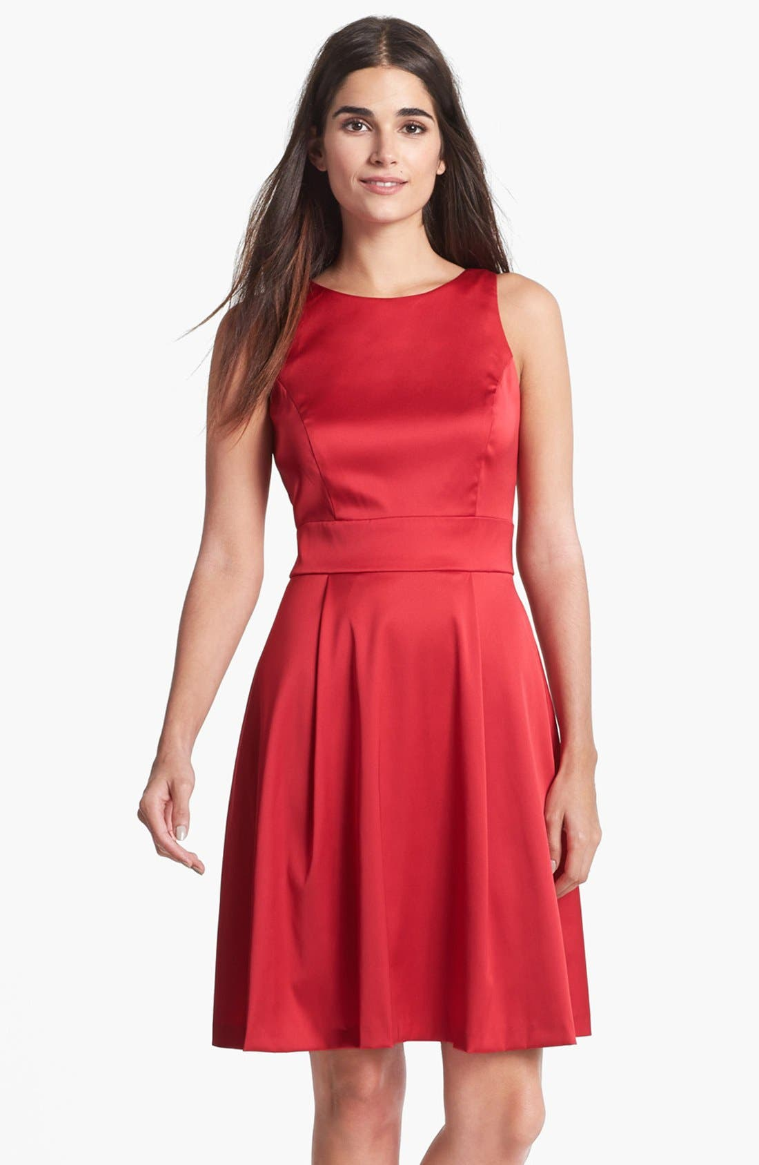 Main Image - Donna Ricco Back Bow Satin Fit & Flare Dress