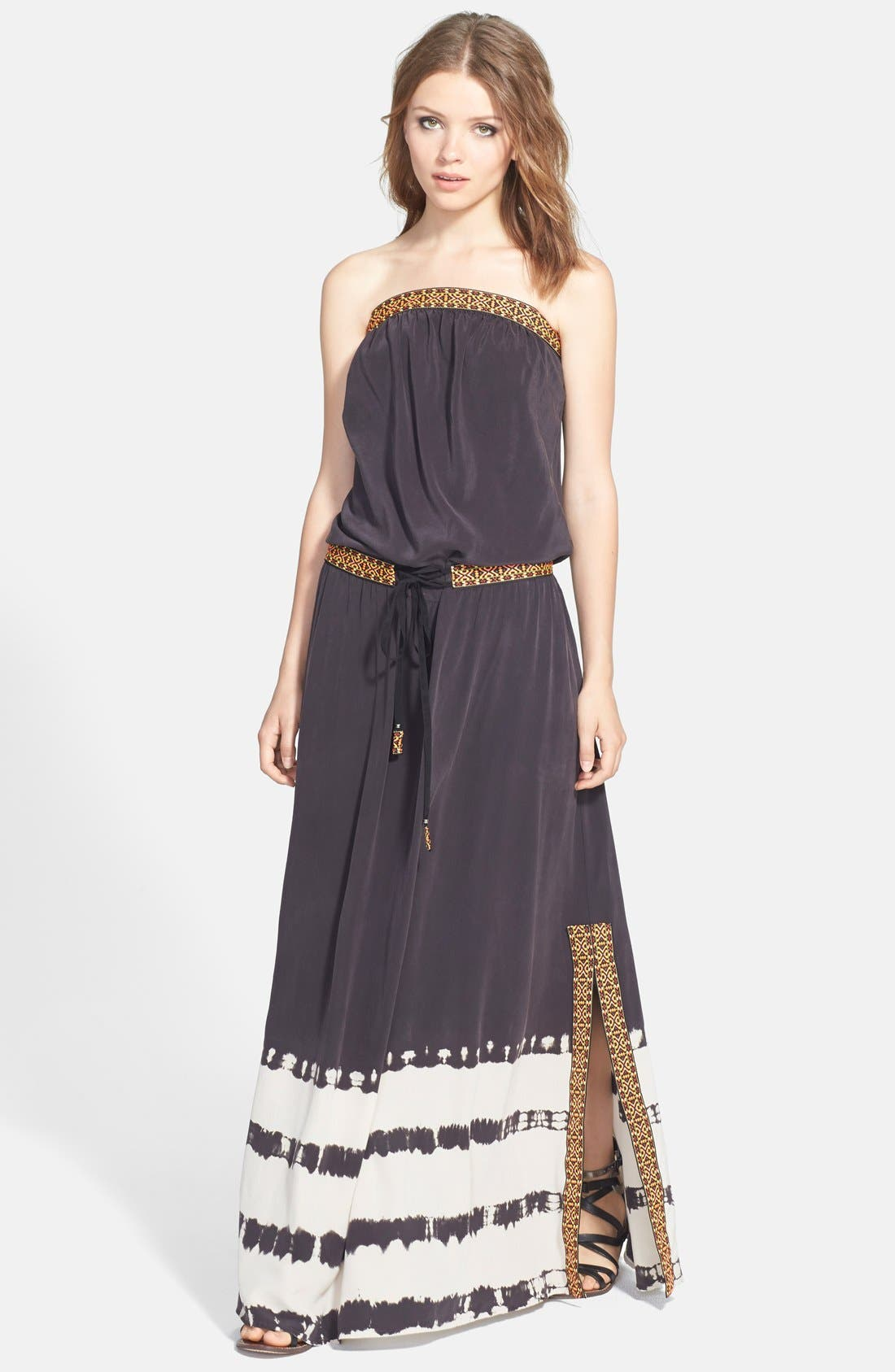 Alternate Image 1 Selected - Gypsy 05 Embroidered Trim Silk Maxi Dress