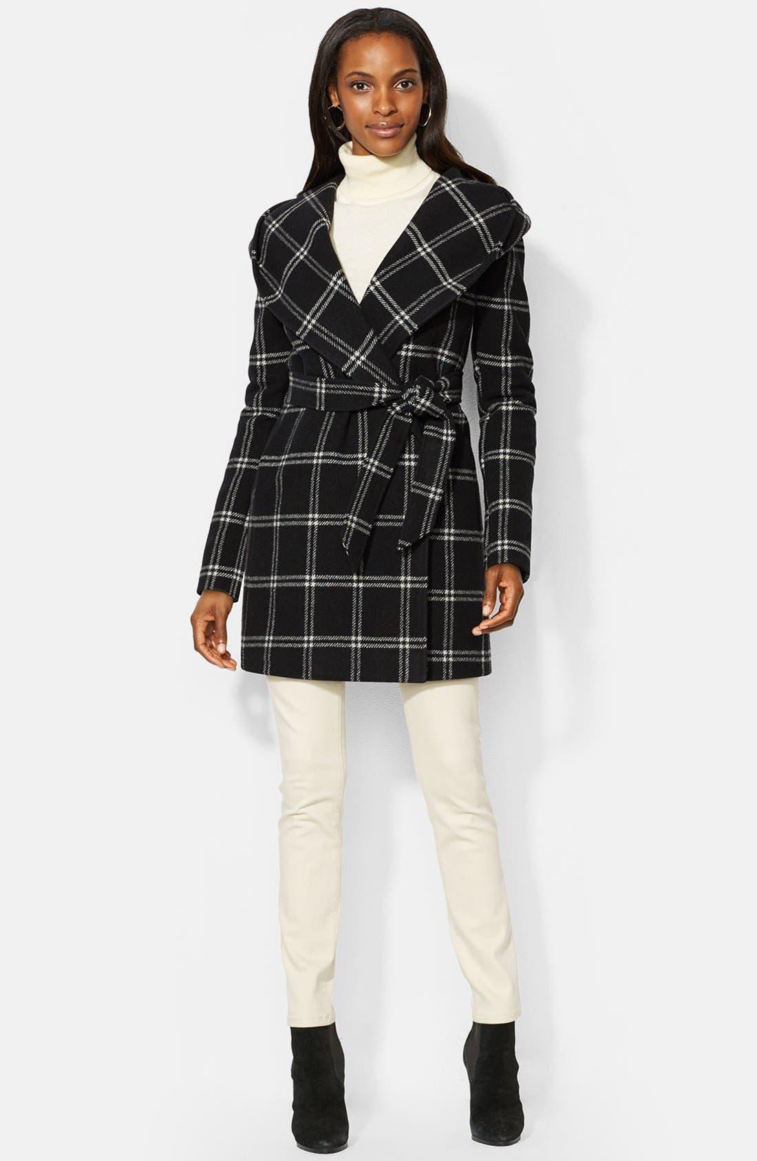 Main Image - Lauren Ralph Lauren Windowpane Plaid Hooded Wrap Coat (Online Only)
