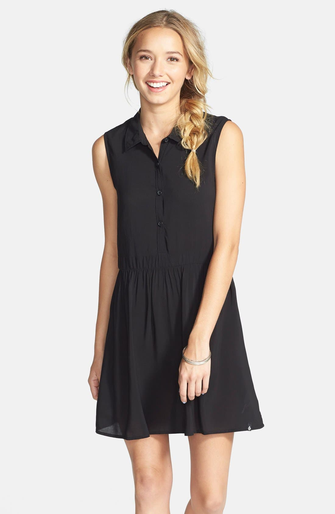 Main Image - Volcom 'Shady' Button Front Shift Dress