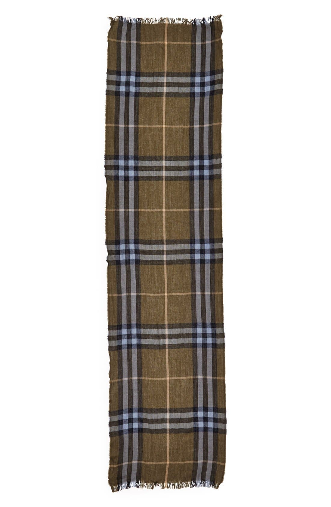 Alternate Image 2  - Burberry Check Merino Wool & Cashmere Scarf