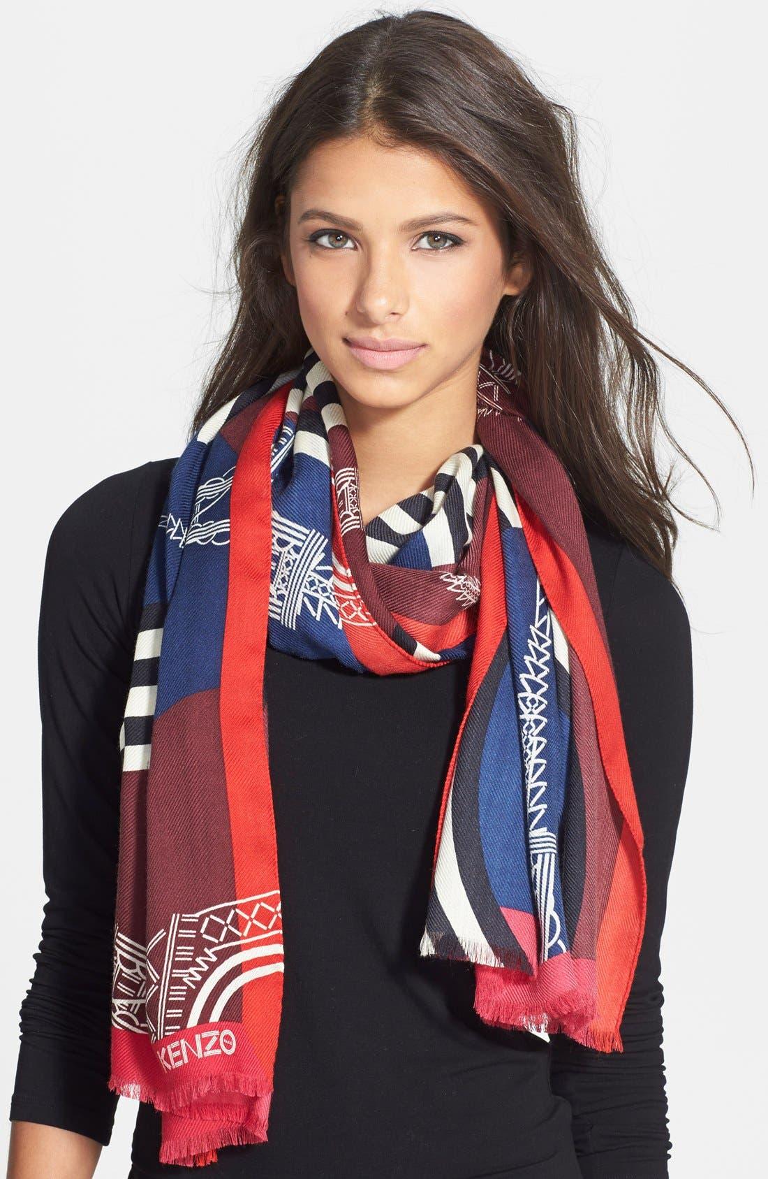 Main Image - KENZO 'Tour Eiffel' Wool & Silk Scarf