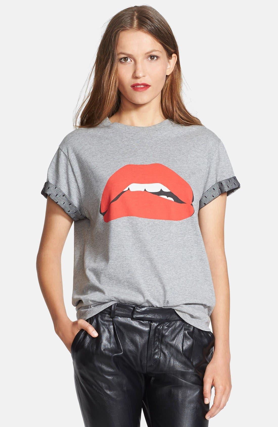 Alternate Image 1 Selected - RED Valentino Flocked Lip Print Tee