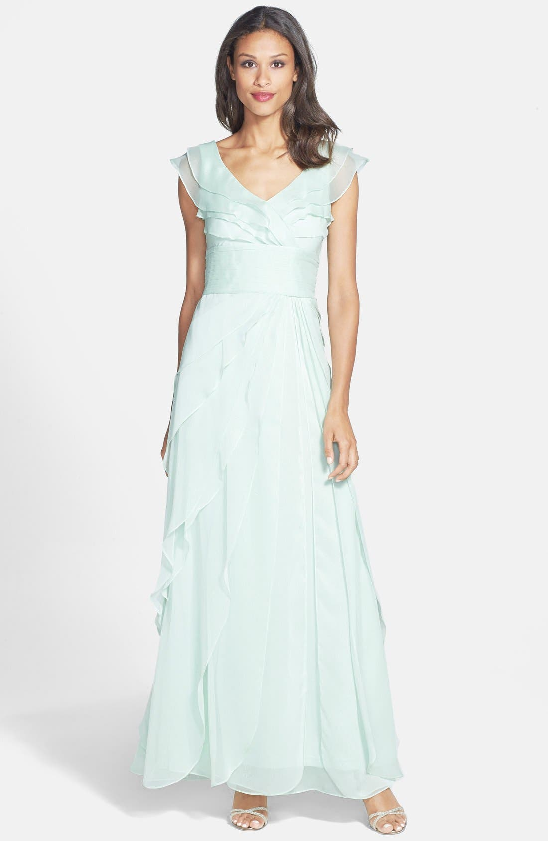 Alternate Image 1 Selected - Adrianna Papell Tiered Chiffon Gown (Regular & Petite)