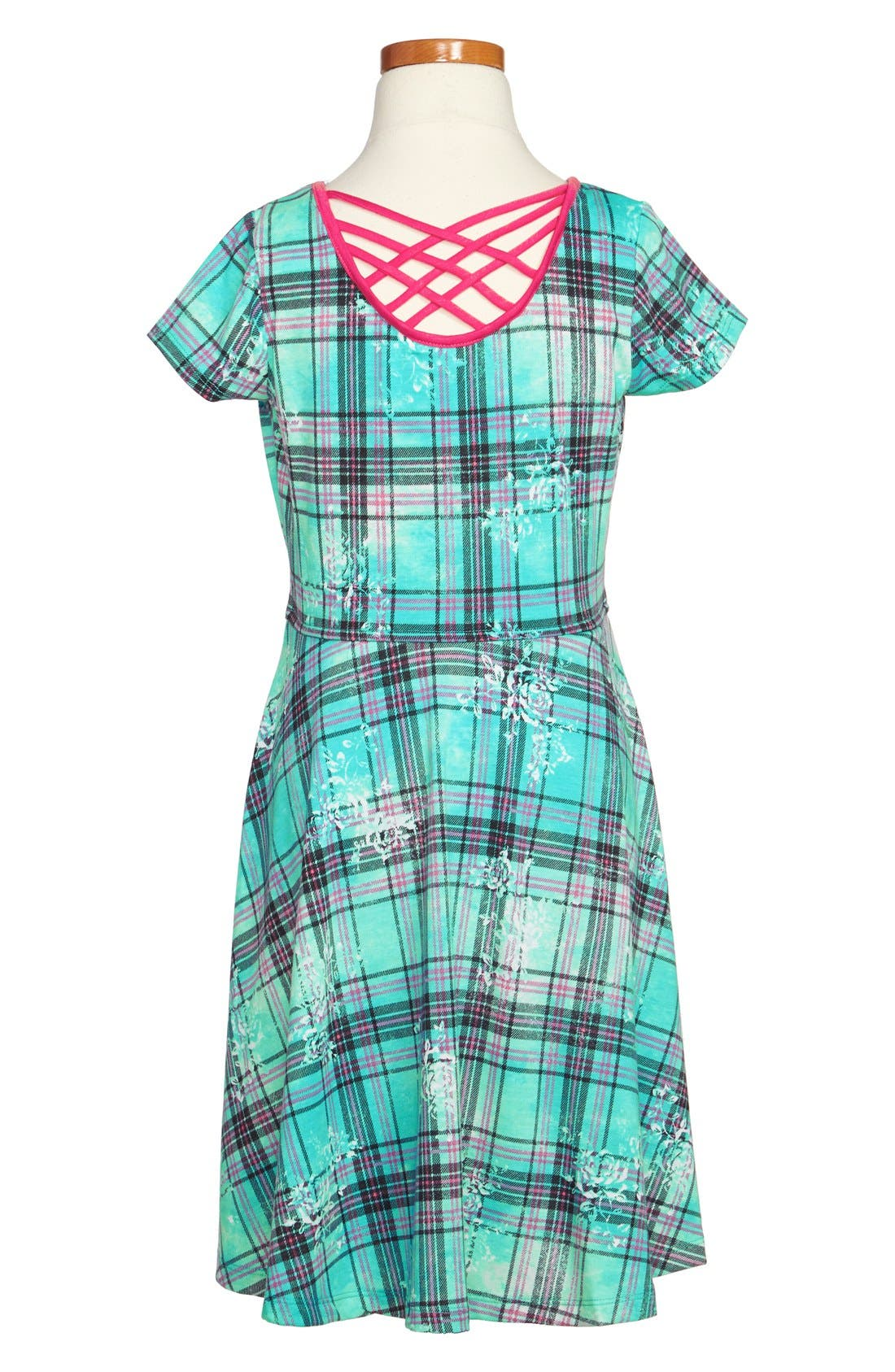 Alternate Image 2  - Zunie Lattice Back Floral Print Plaid Dress (Big Girls)