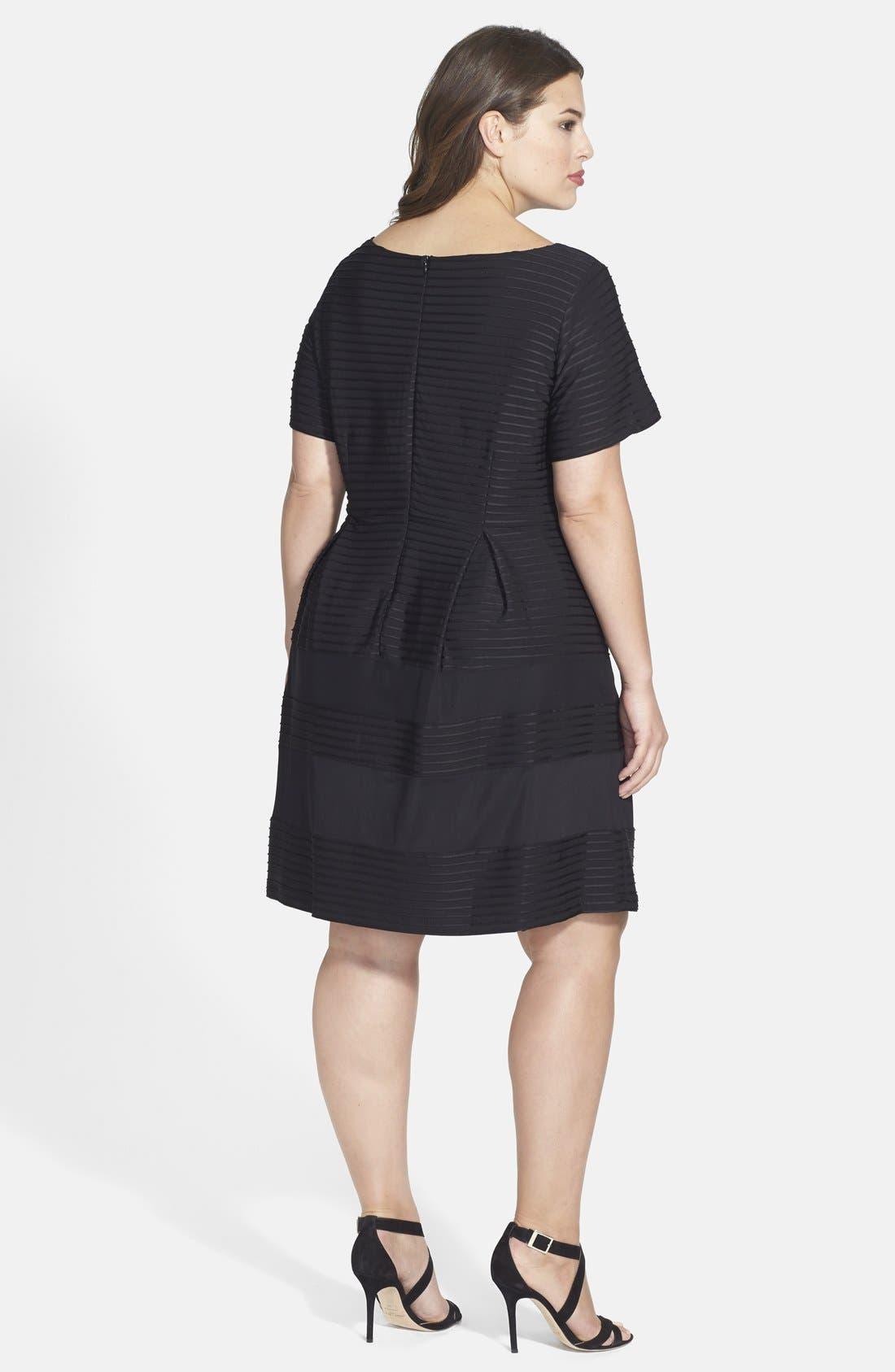 Alternate Image 2  - Taylor Dresses Pintuck Fit & Flare Dress (Plus Size)